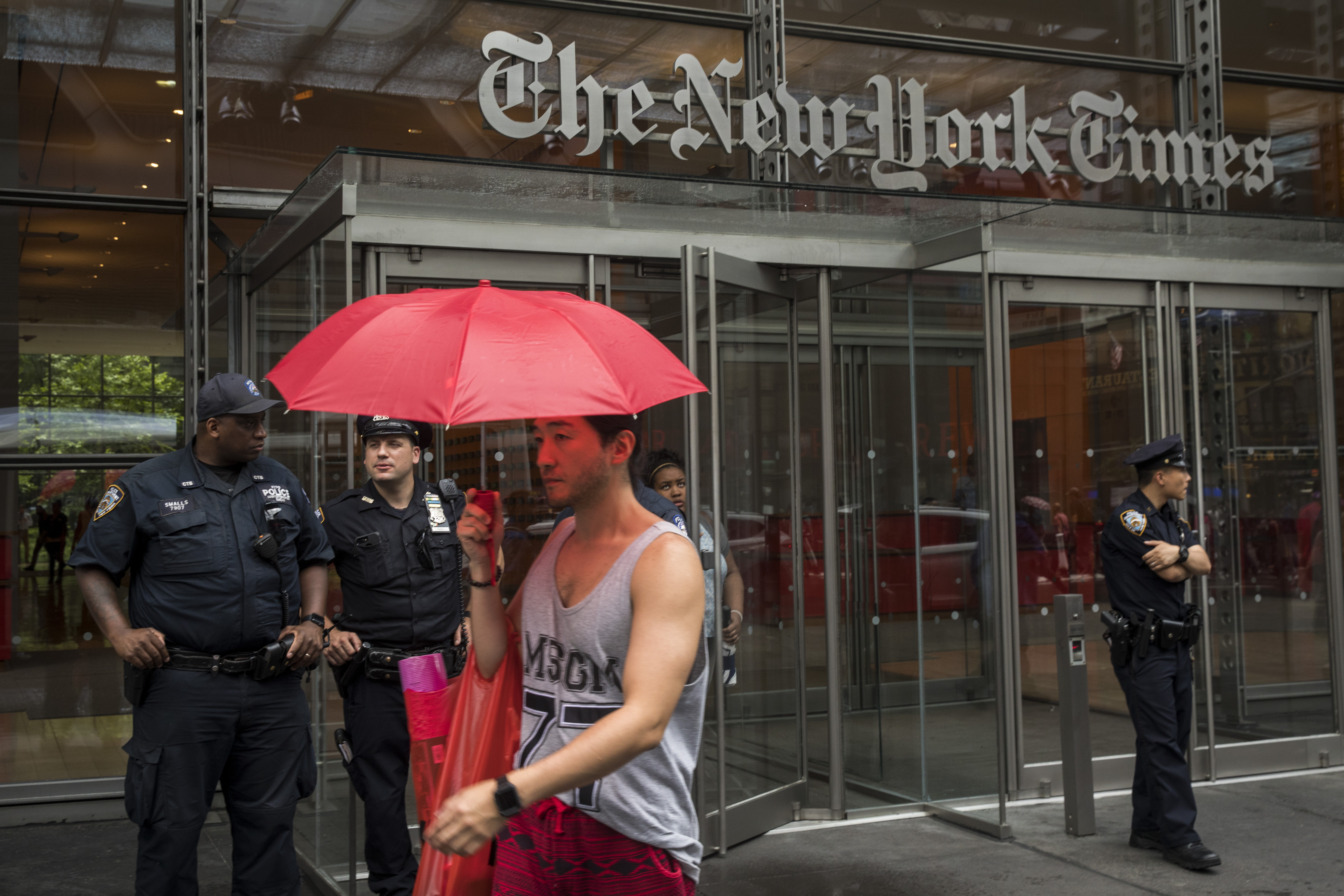 The New York Times building with policemen out front