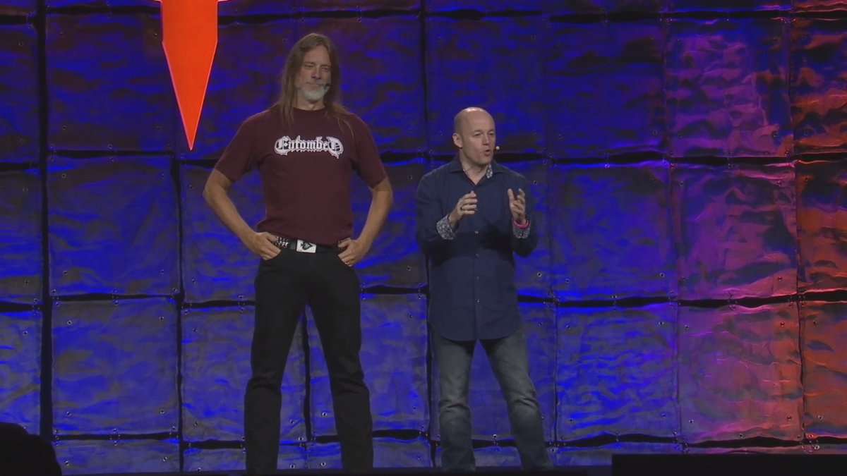 A photo of Magnus Nedfors and Tim Willits during QuakeCon 2018.