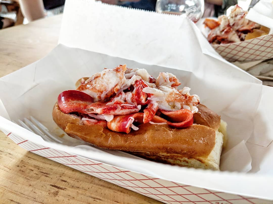 A lobster roll, Connecticut-style, from Bite Into Maine at Allagash