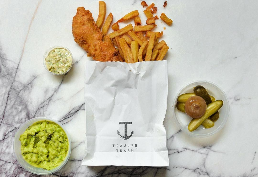 Fish, chips, peas and pickles from Islington restaurant Trawler Trash, now closed