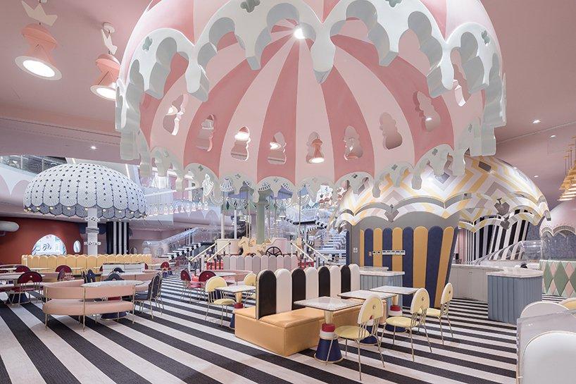 pastel-hued mall playground