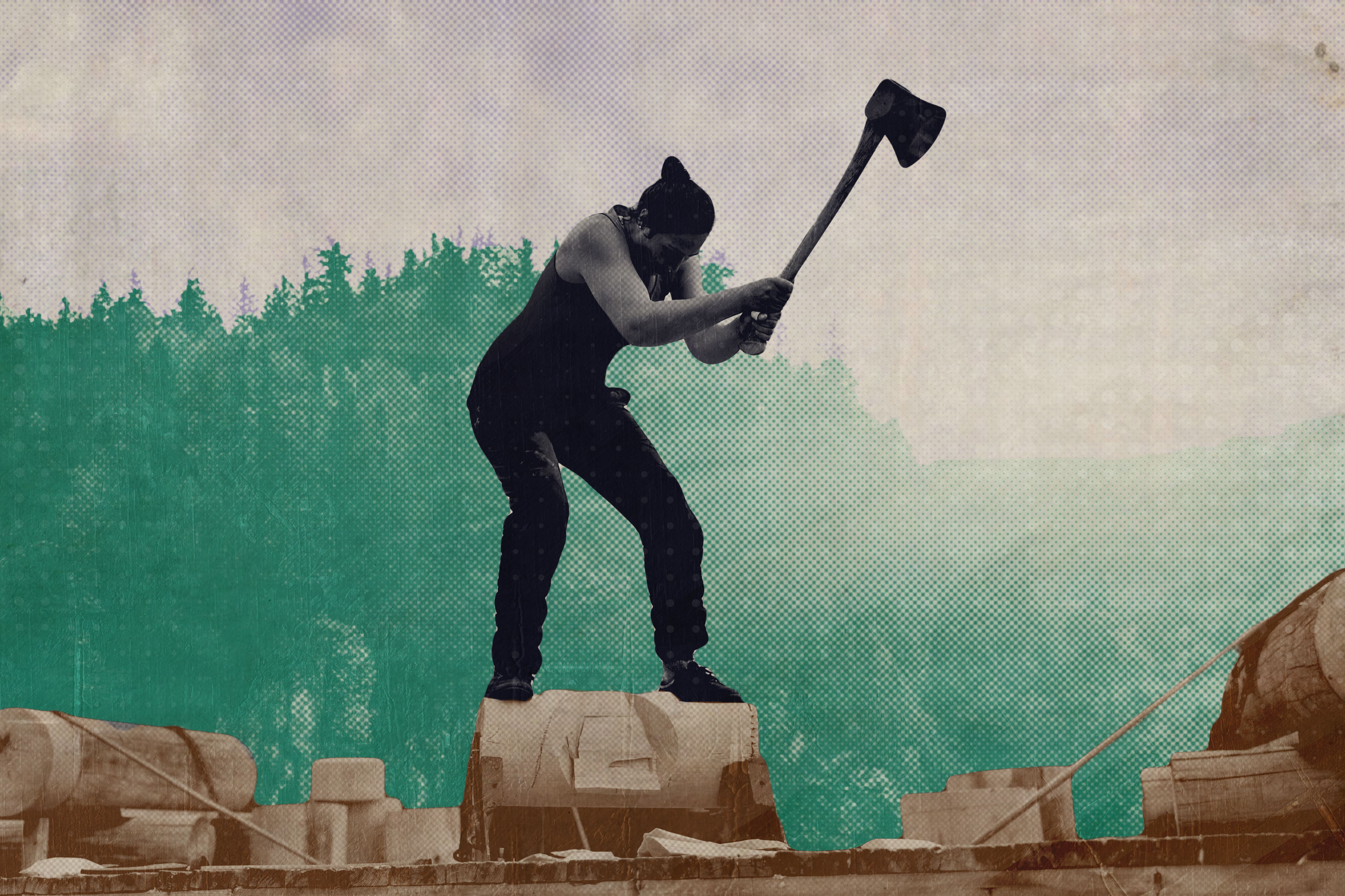A treated image of a woman competing in a lumberjack event