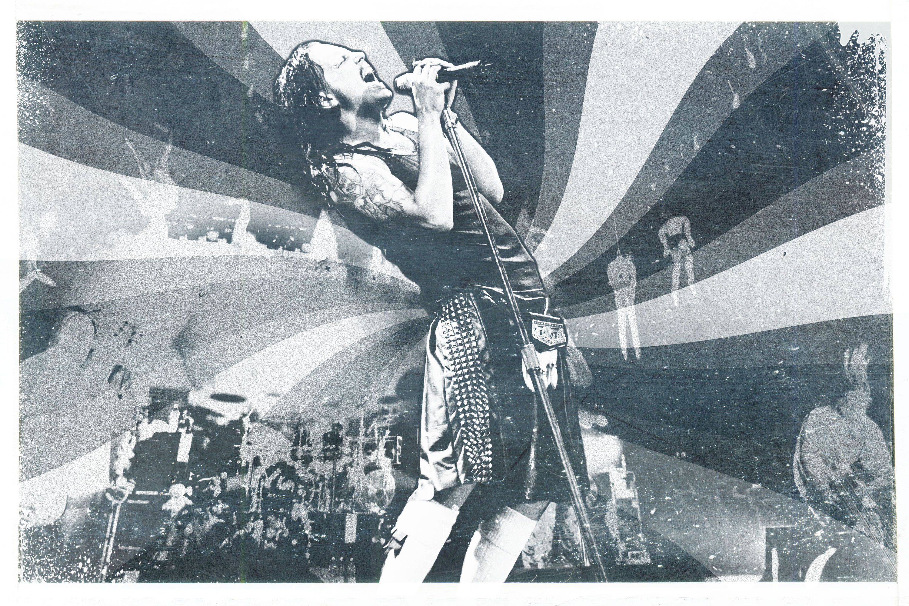 A treated image of Jonathan Davis performing with Korn