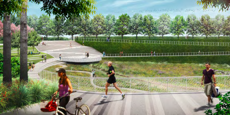Rendering showing paved trail with green space.