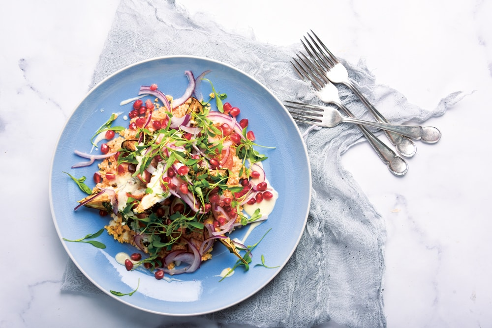 Vegan salad plate at Stem and Glory, the vegan restaurant in Cambridge planning its first London opening and reviewed by Giles Coren