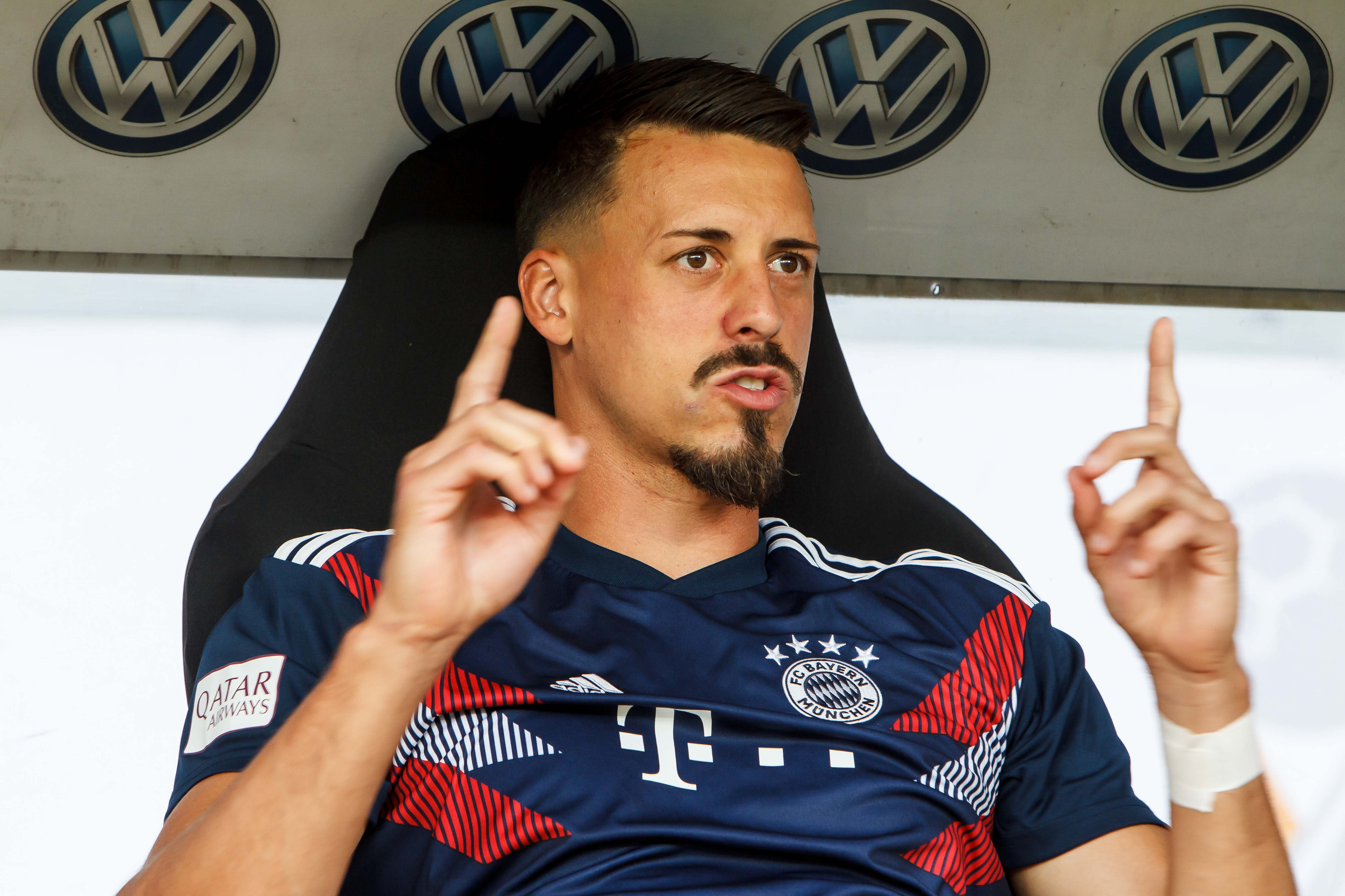 FRANKFURT AM MAIN, GERMANY - AUGUST 12: Sandro Wagner of Bayern Muenchen gestures prior to the DFL Supercup match between Eintracht Frankfurt and Bayern Muenchen at Commerzbank-Arena on August 12, 2018 in Frankfurt am Main, Germany.