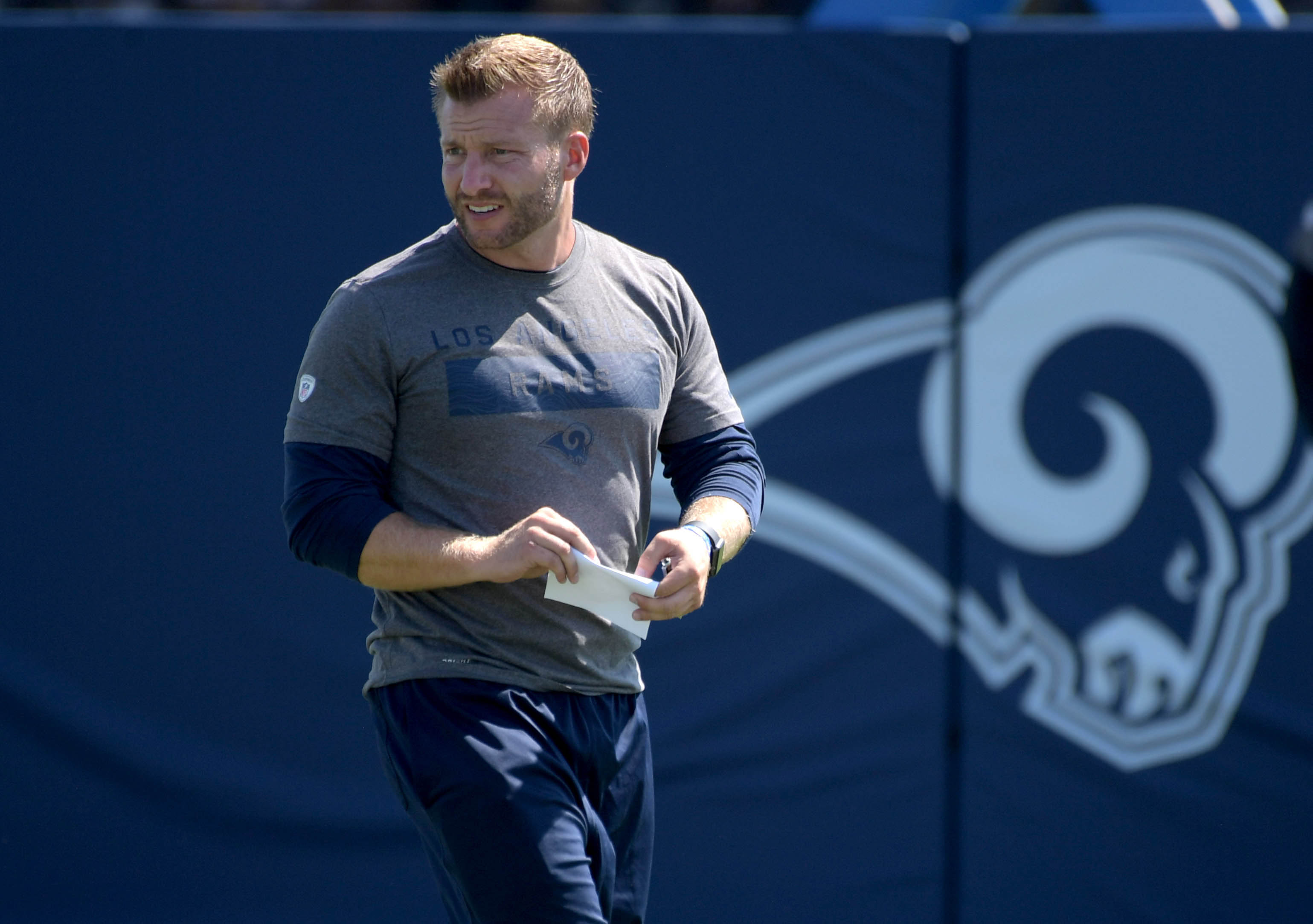 Los Angeles Rams coach Sean McVay during training camp, July 28, 2018.