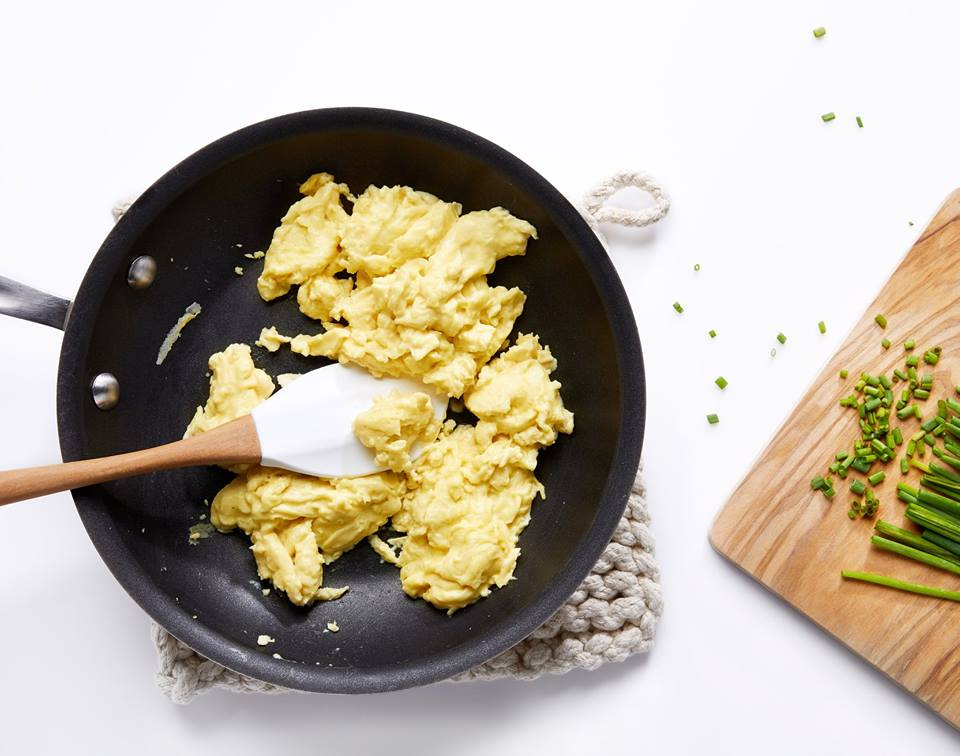 """Scrambled """"eggs"""" made with vegan-friendly, mung bean-based Just Egg"""