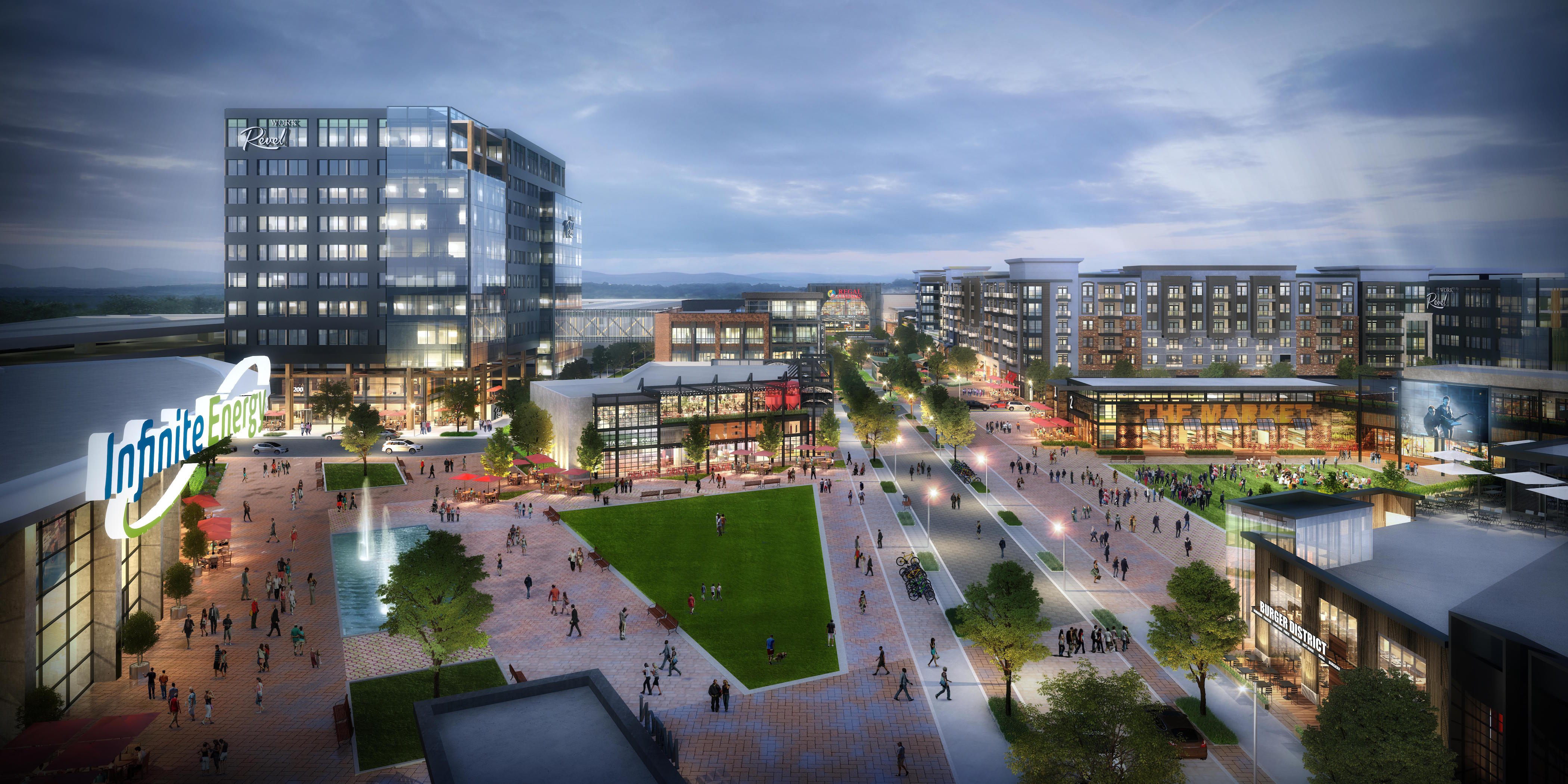 A rendering of the huge mixed-use development planned for Duluth in Gwinnett County.
