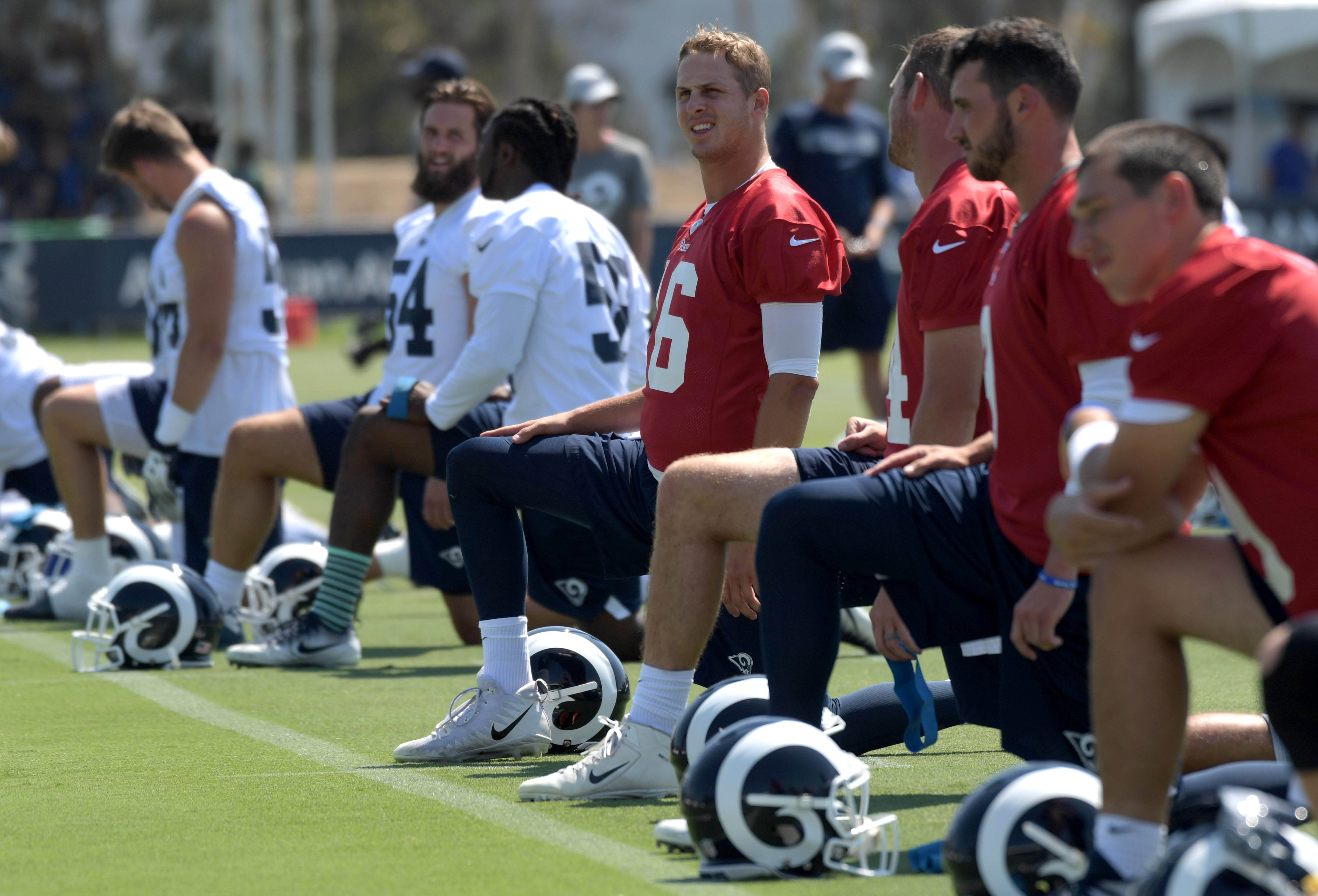Los Angeles Rams QB Jared Goff stretches during training camp, July 27, 2018.