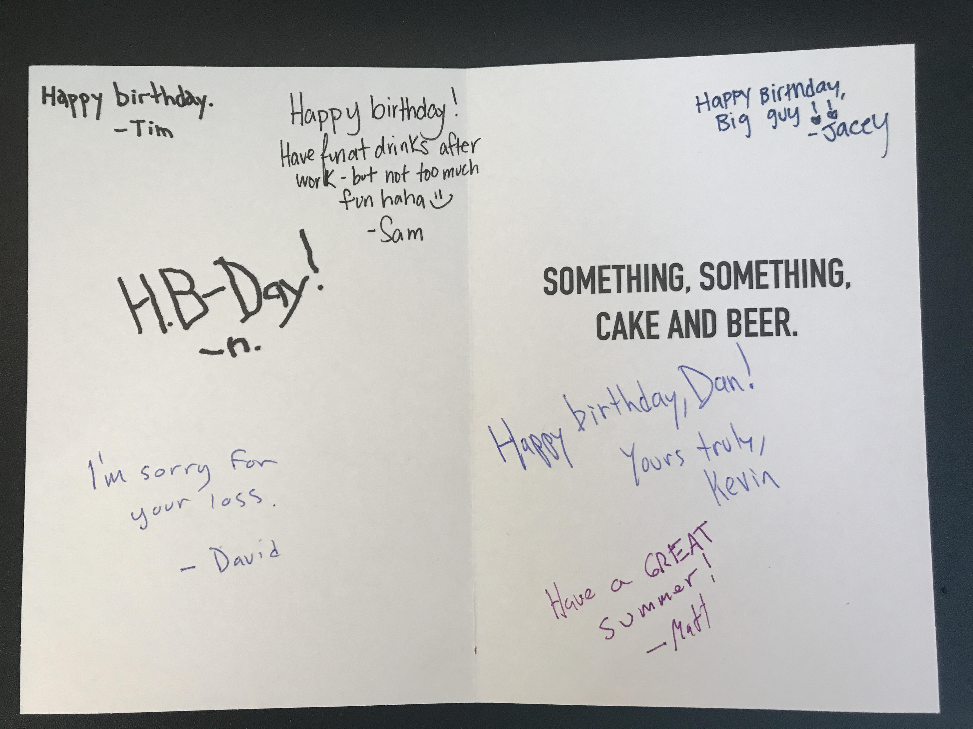 Translating The Office Birthday Card