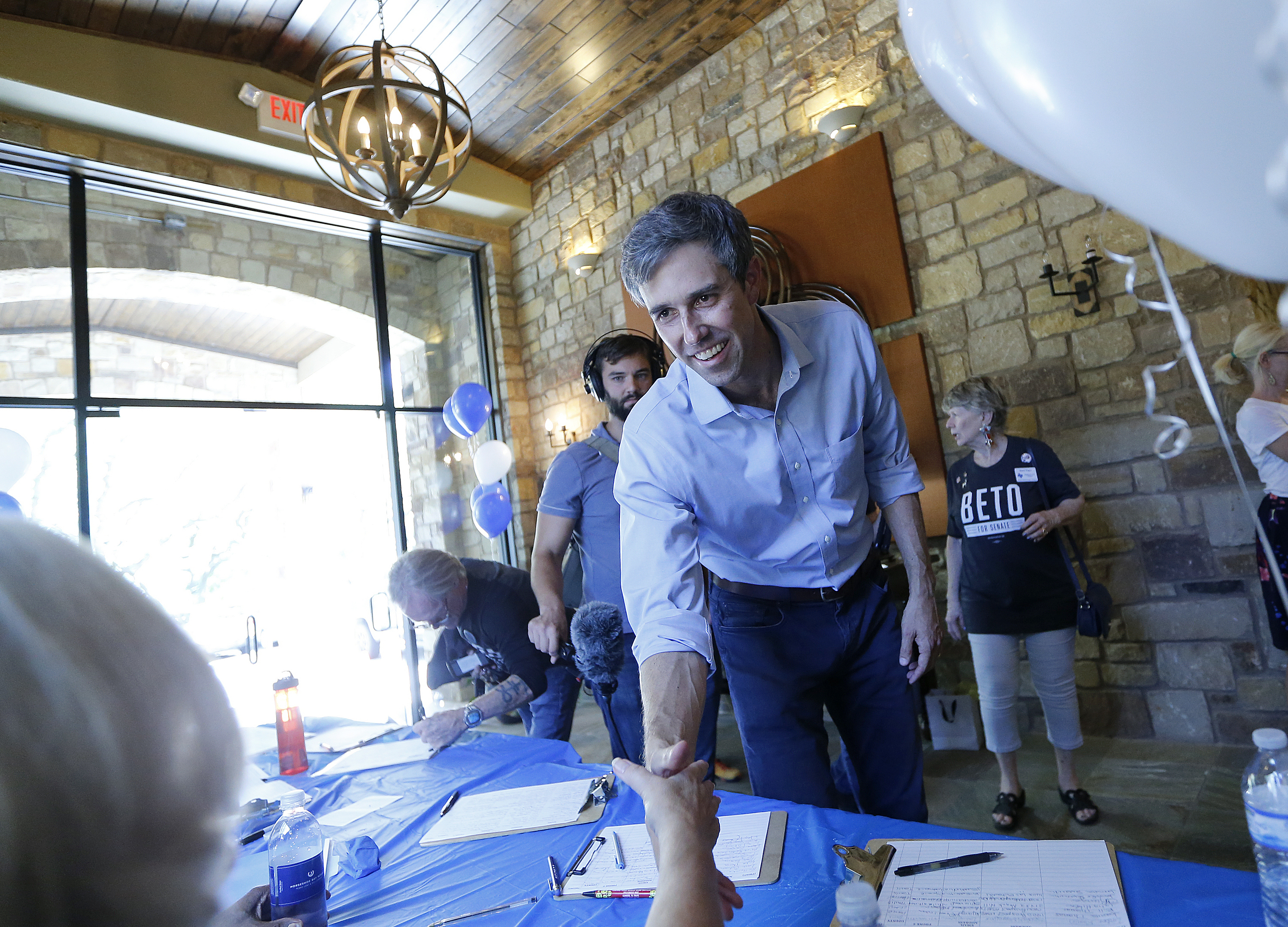 Beto O'Rourke at a campaign event in Horseshoe Bay, Texas