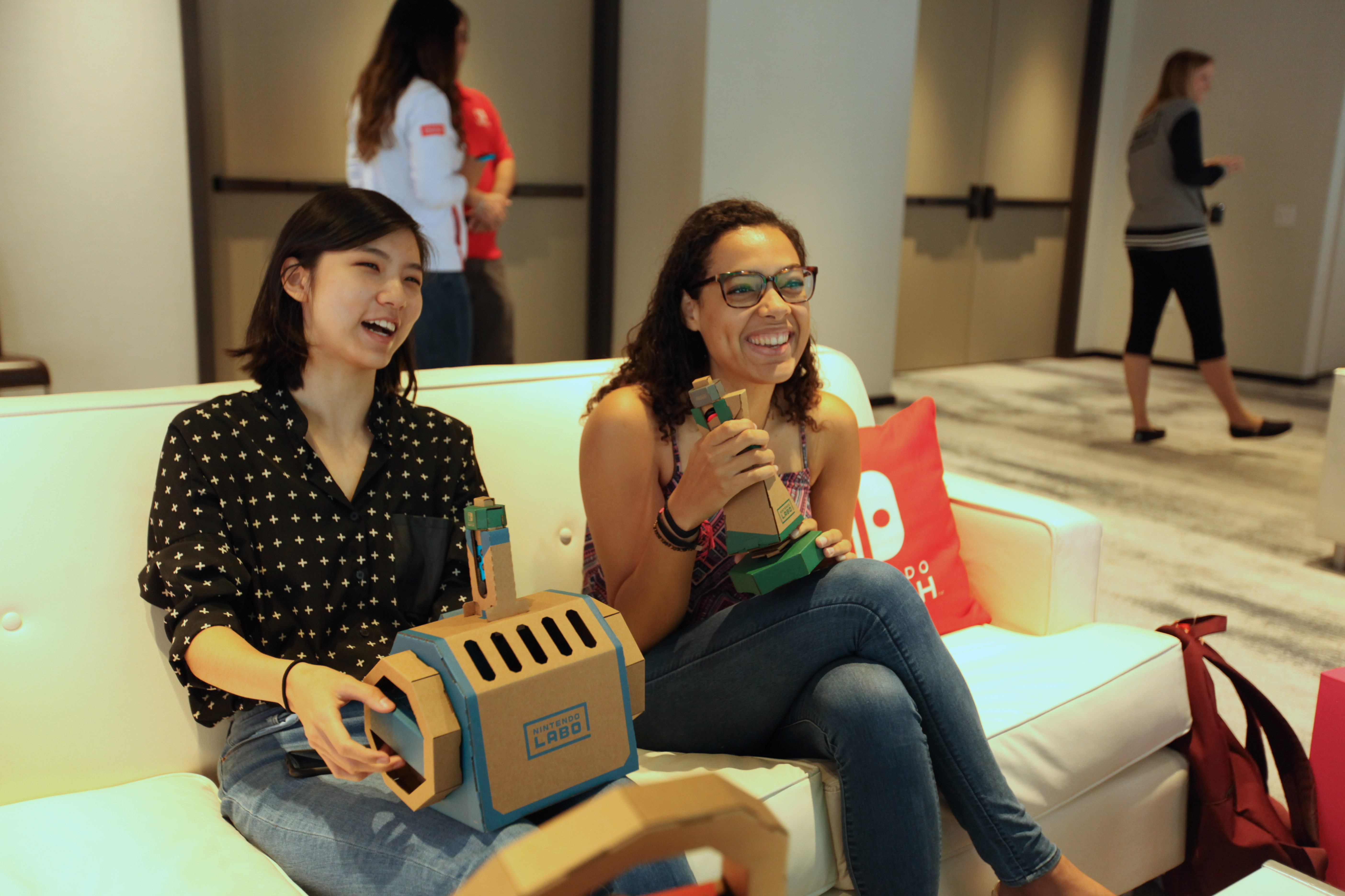 Allegra and Dami Lee of The Verge play with the Nintendo Labo Vehicle Kit