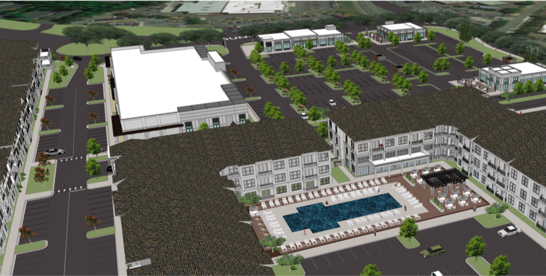Rendering of a crappy shopping center that aims to be cool again.