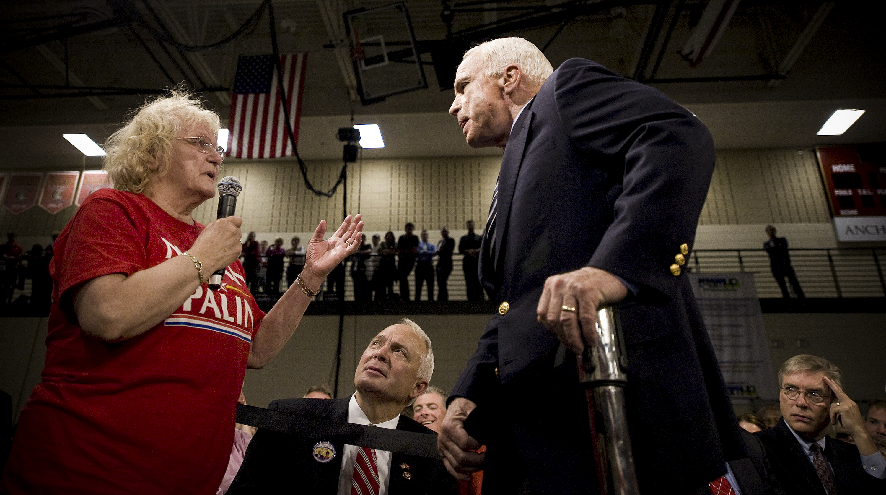 Watch John McCain defend Barack Obama against a racist voter in 2008