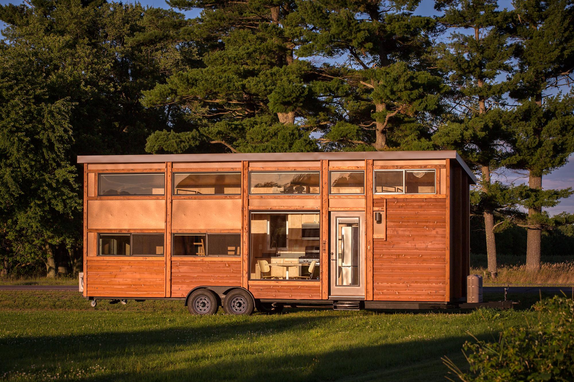 Tiny wood home on wheels