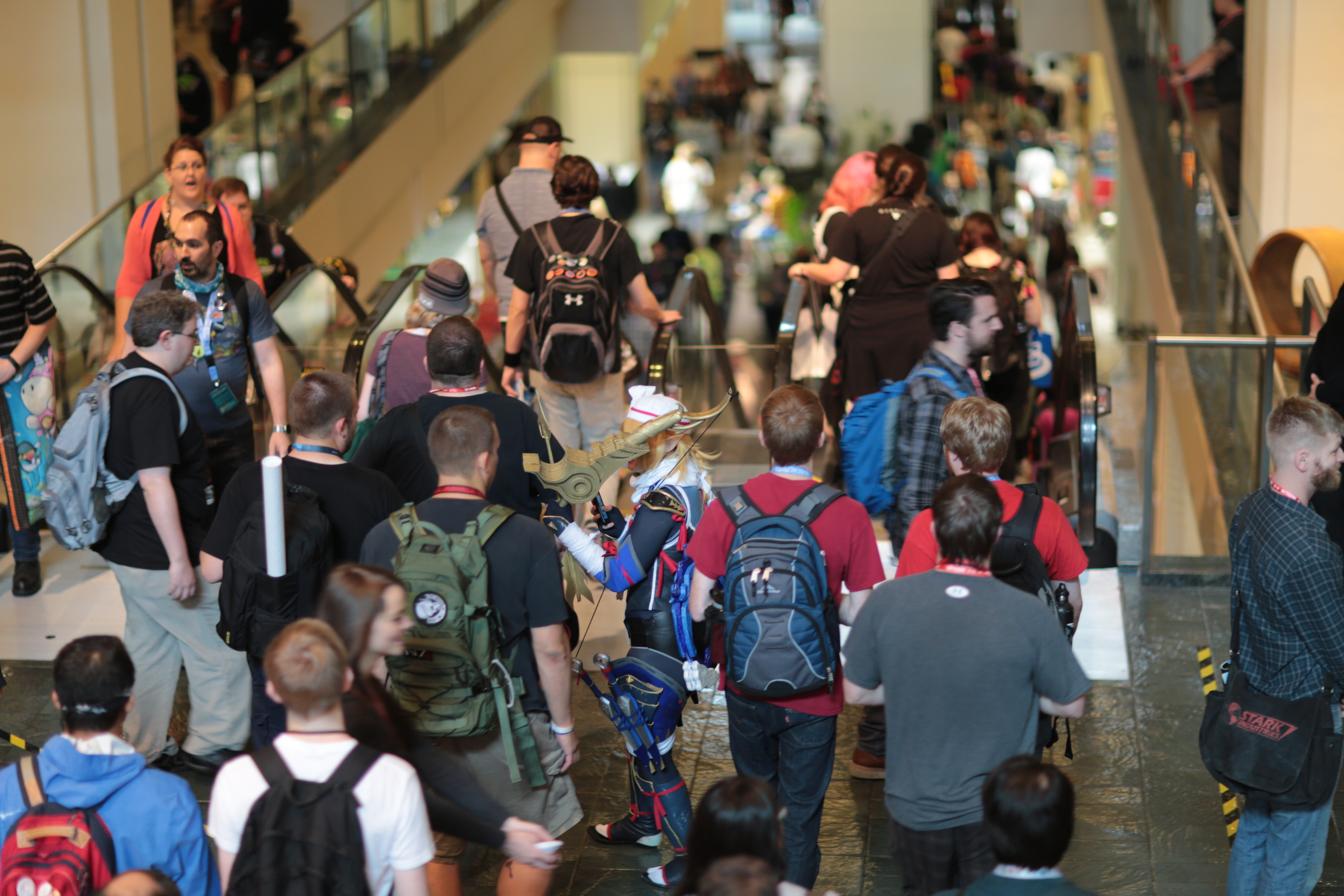 crowds getting on the escalators at PAX Prime 2015