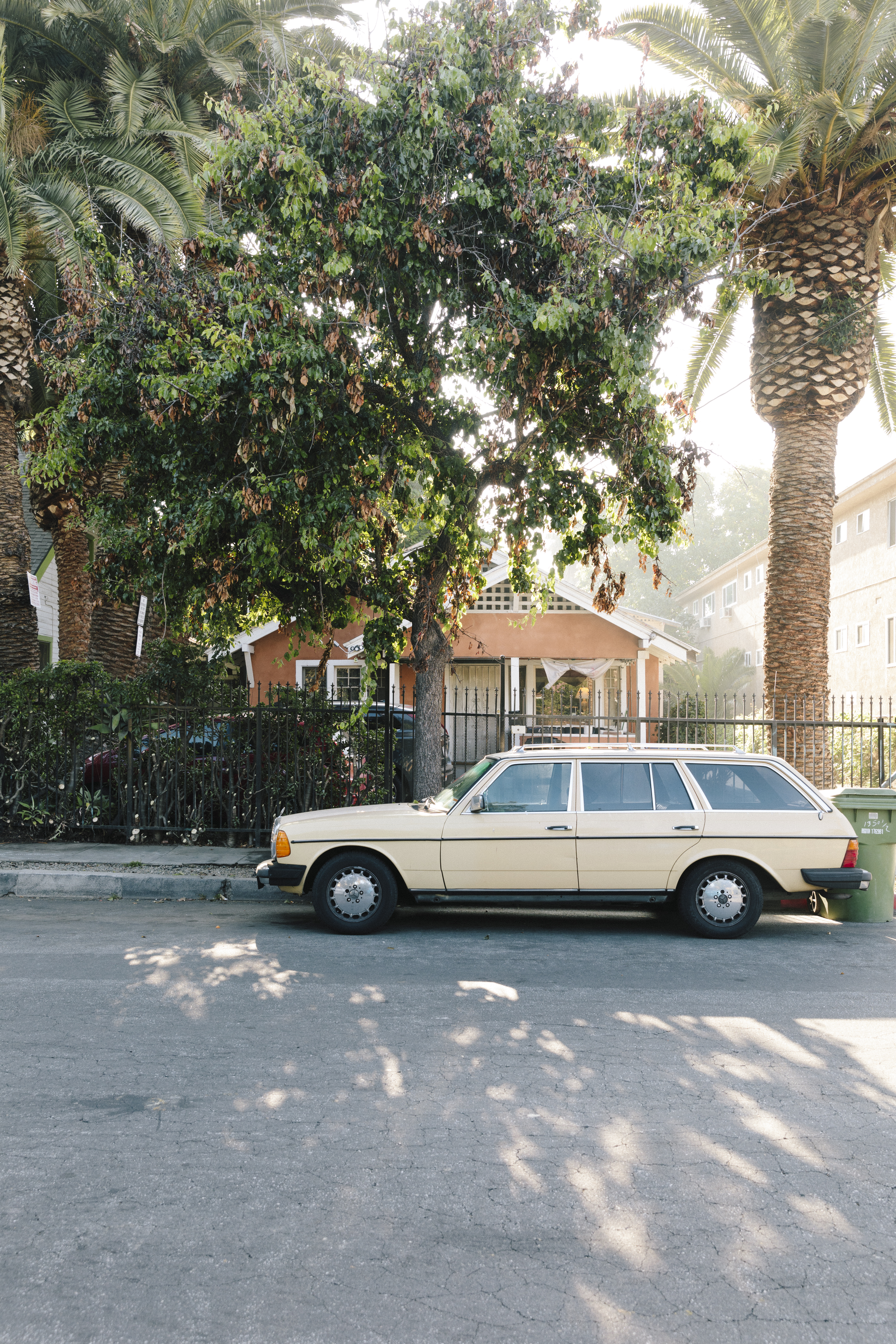 An old station wagon parked in front of an orange-colored house partly obscured by a tree in the front yard