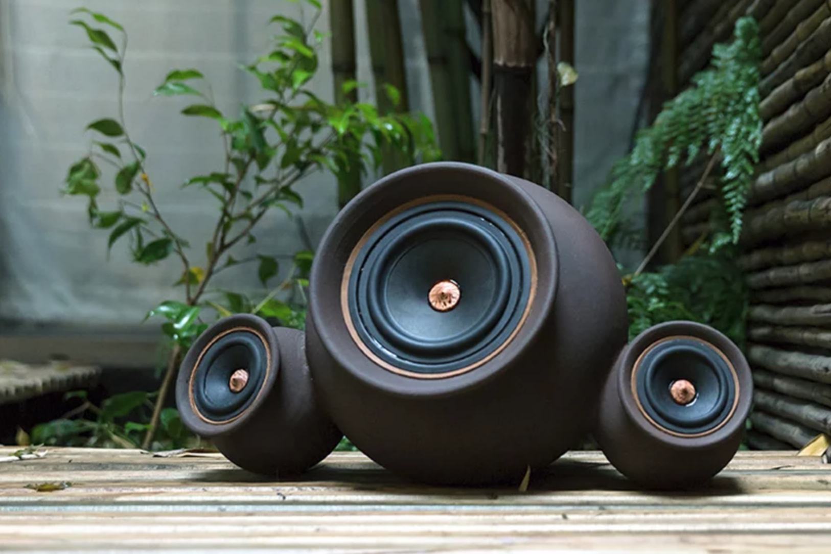 hand-thrown clay speakers