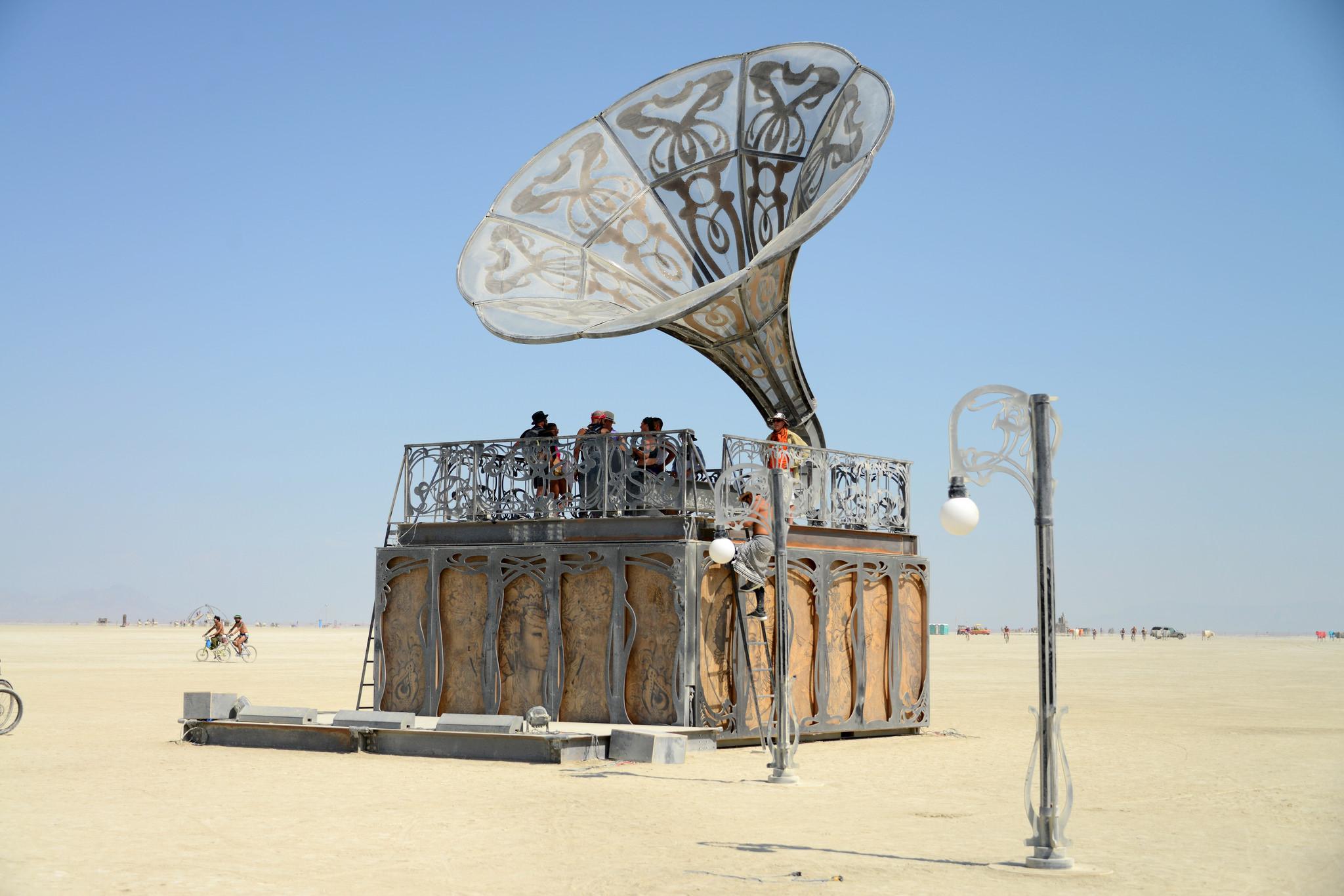 Scene of art sculpture from Burning Man 2017.