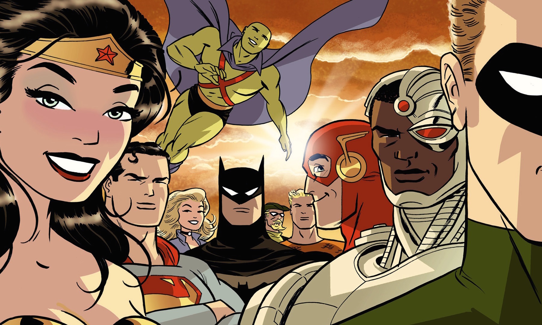 The Justice League in a Darwyn Cooke variant cover