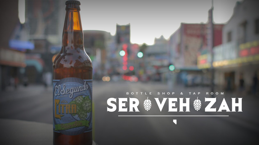 A craft beer and the logo for the Servehzah Bottle Shop and Tap Room, moving into the Arts District.