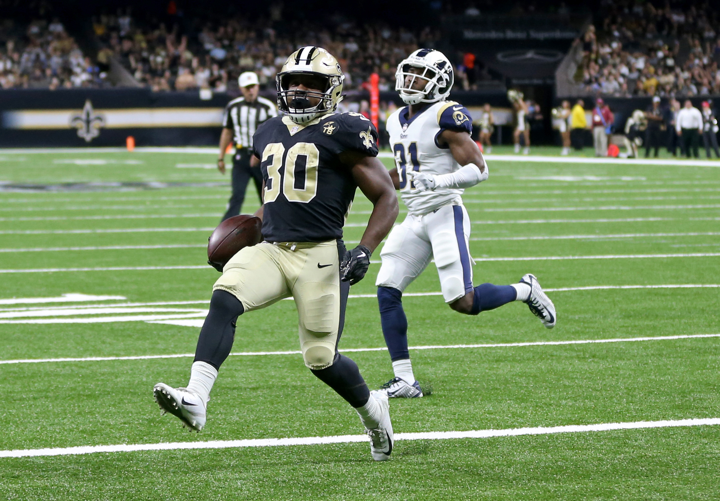 New Orleans Saints RB Boston Scott scores a touchdown, August 30, 2018.