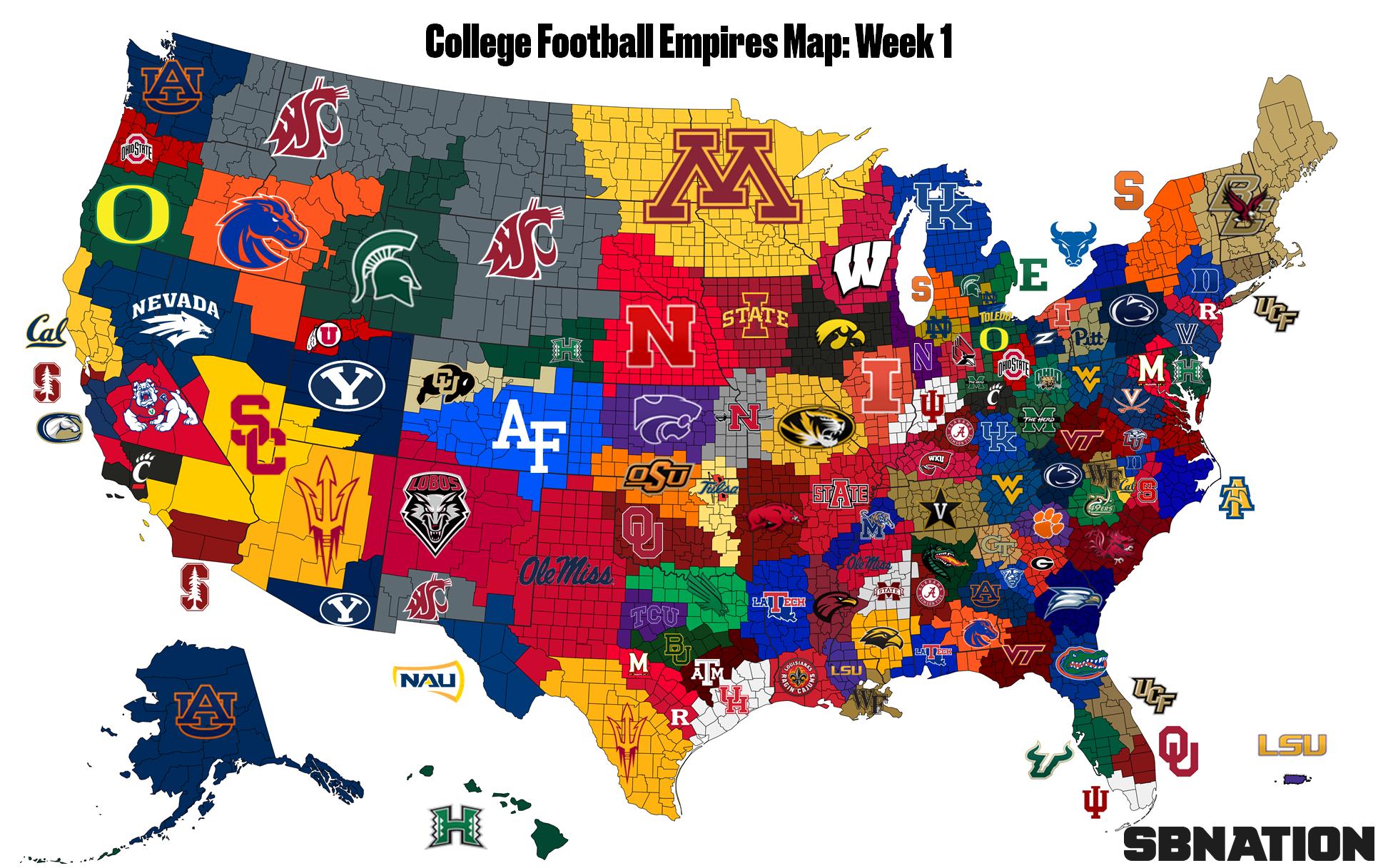 2018 College Football Empires Map, Week 1 - SBNation.com