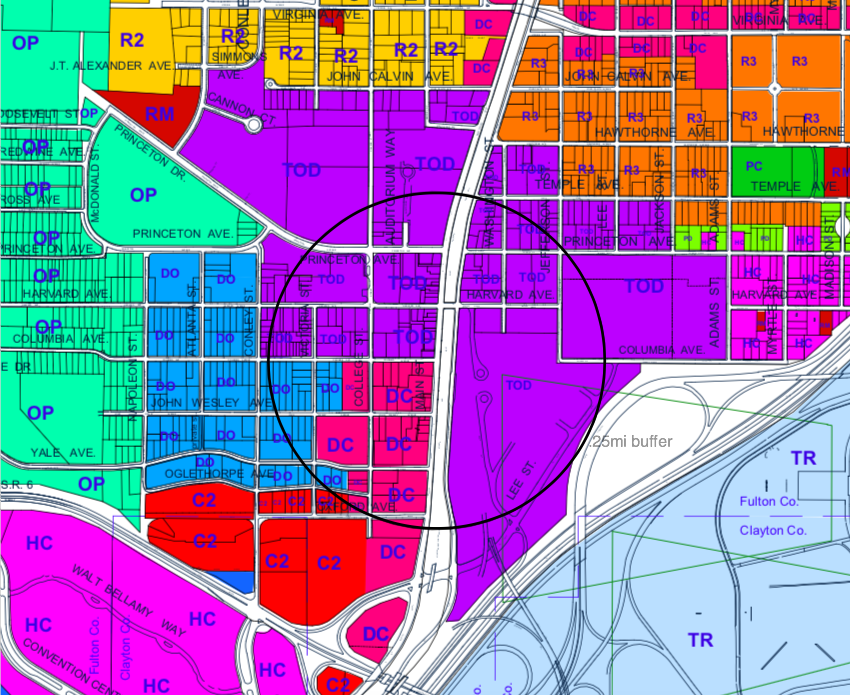 A graphic of the area in question, in the commercial core of College Park.