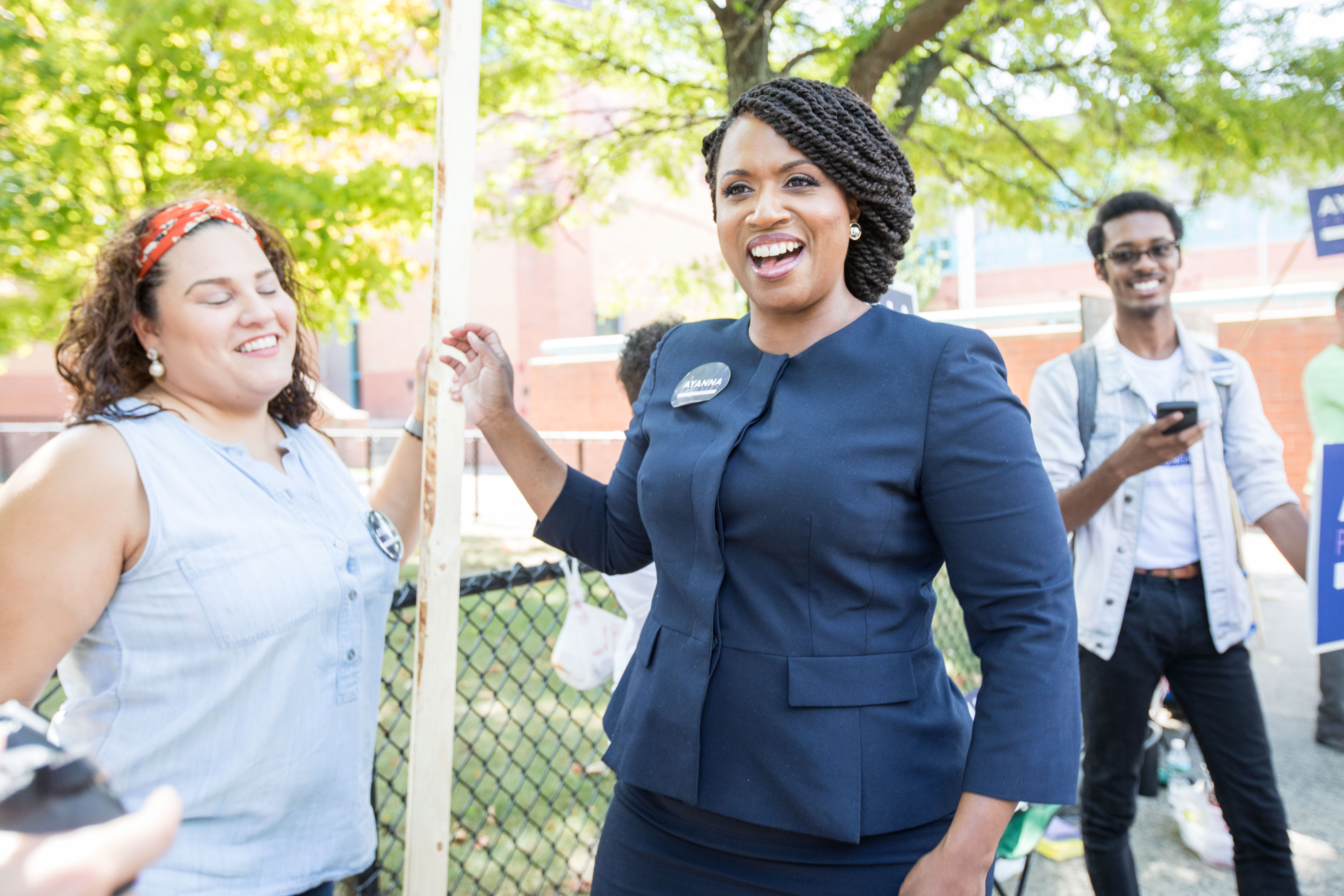Boston City Councilwomen And House Democratic Candidate Ayanna Pressley Campaigns On Primary Day