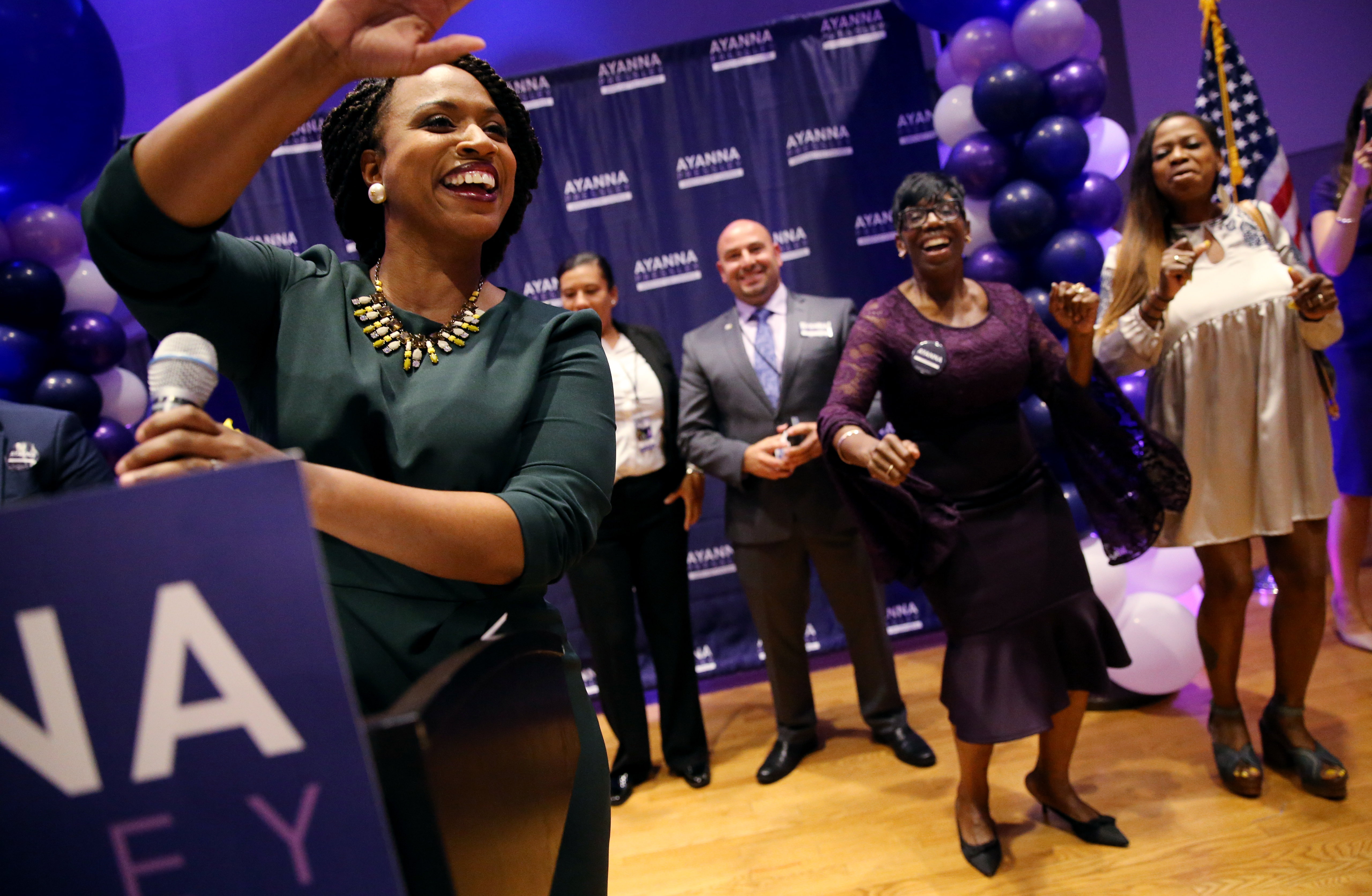 Democrat Ayanna Pressley celebrates her victory in Massachusetts 7th Congressional district primary on September 4, 2018.