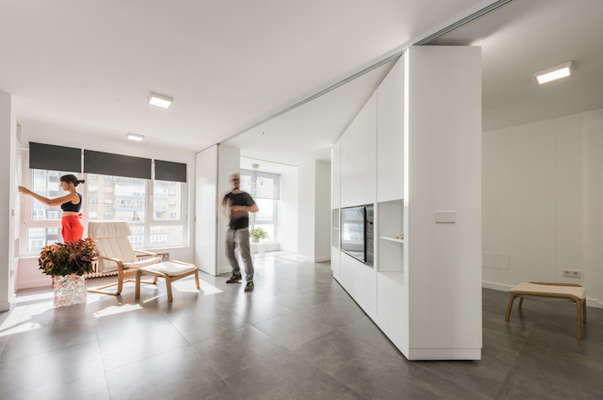 Movable Walls Transform Giant Studio Into Two-Bedroom Pad