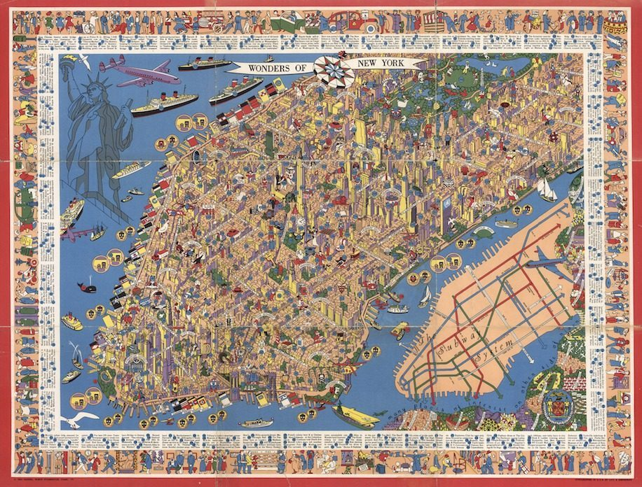 This Gorgeous Map of 1950s NYC is Full of Detail, Whimsy