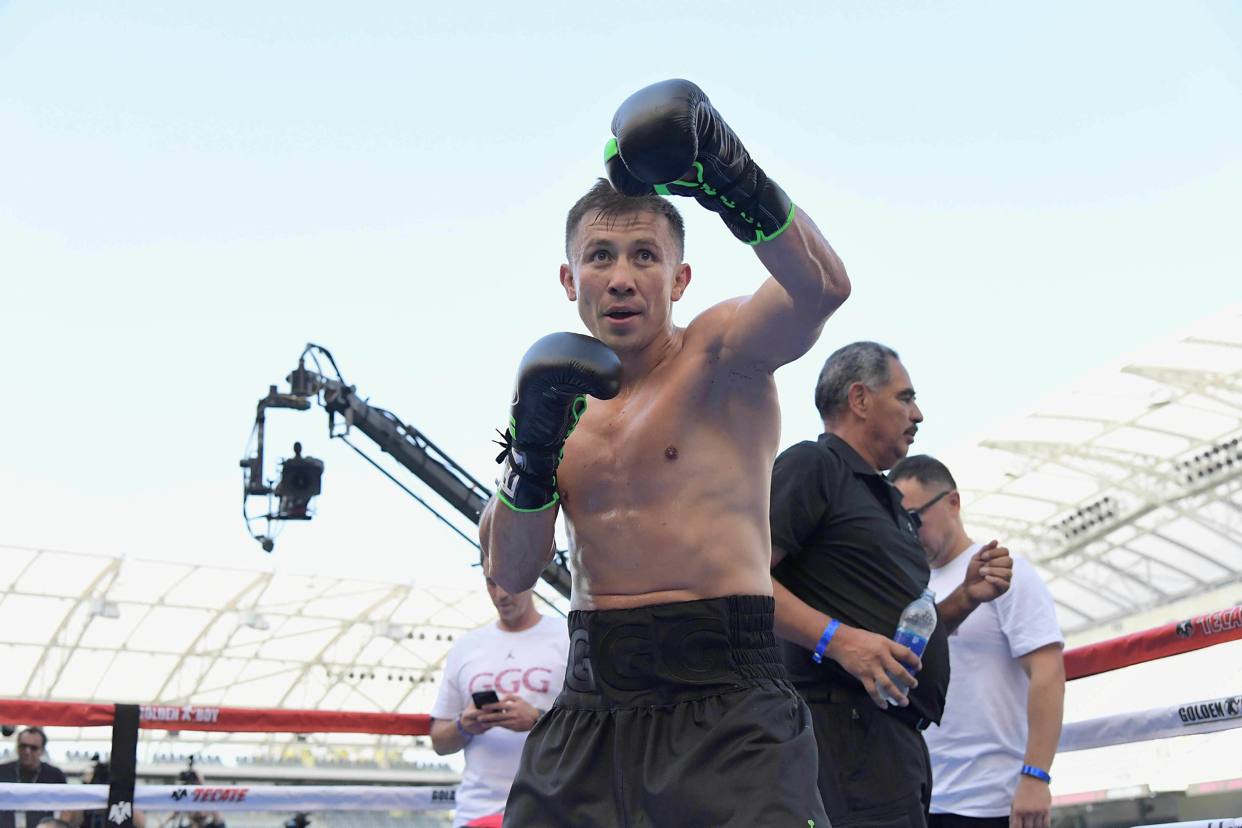 The Chivas Fight Club In The Ring With Gennady 'GGG' Golovkin At Banc Of California Stadium As He Prepares For The Anticipated Rematch With Canelo Alvarez In Las Vegas On September 15