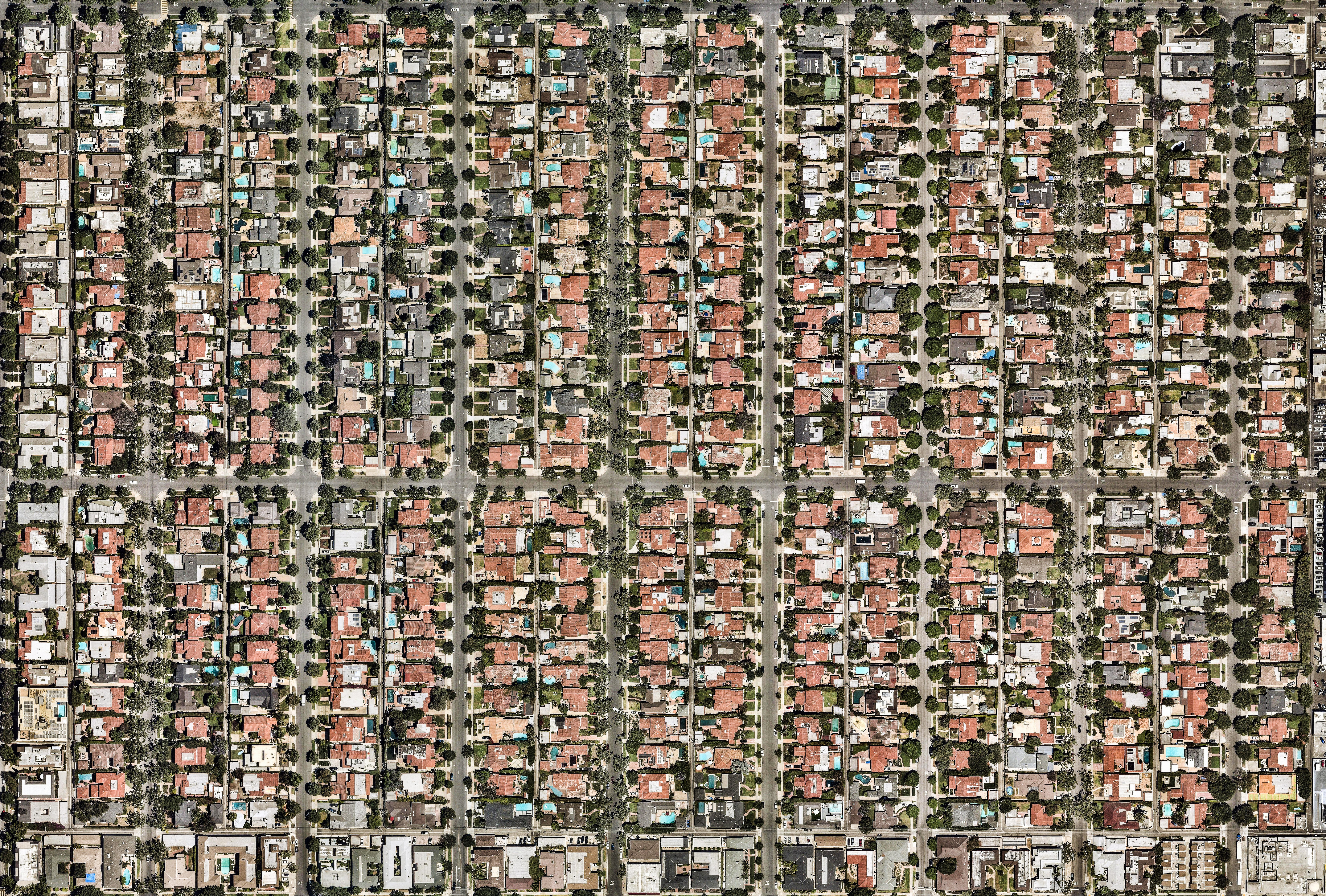 Aerial view of LA neighborhoods