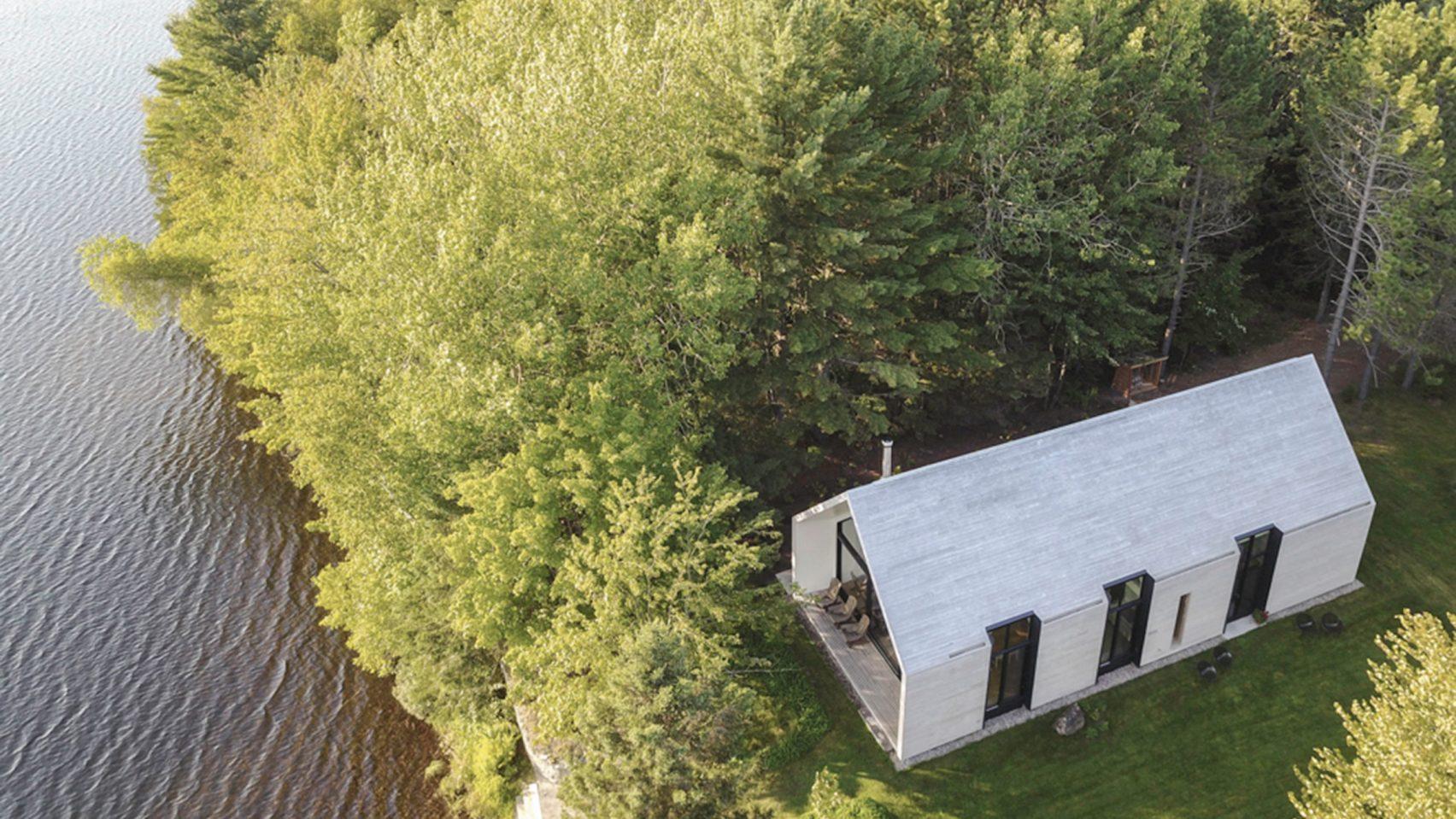 Aerial shot of white cedar house