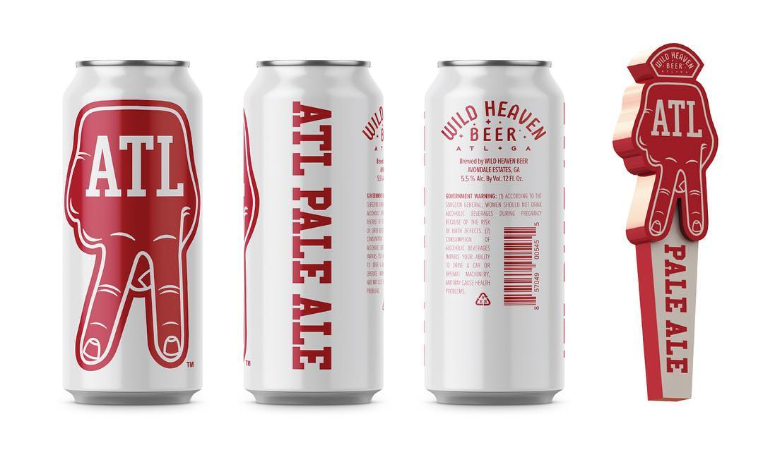 Four red and wine cans Wild Heaven Beer's ATL Pale Ale with the A-Town fingers symbol in red on the labeling