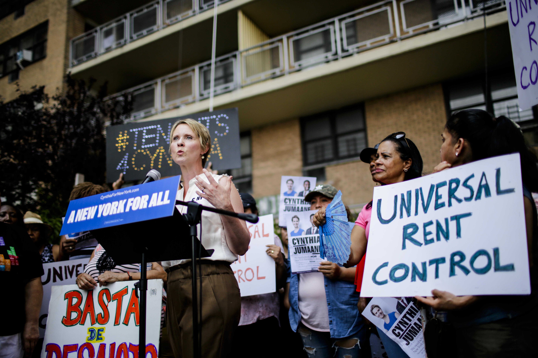 Democratic Gubernatorial Candidate Cynthia Nixon Rally For Universal Rent Control