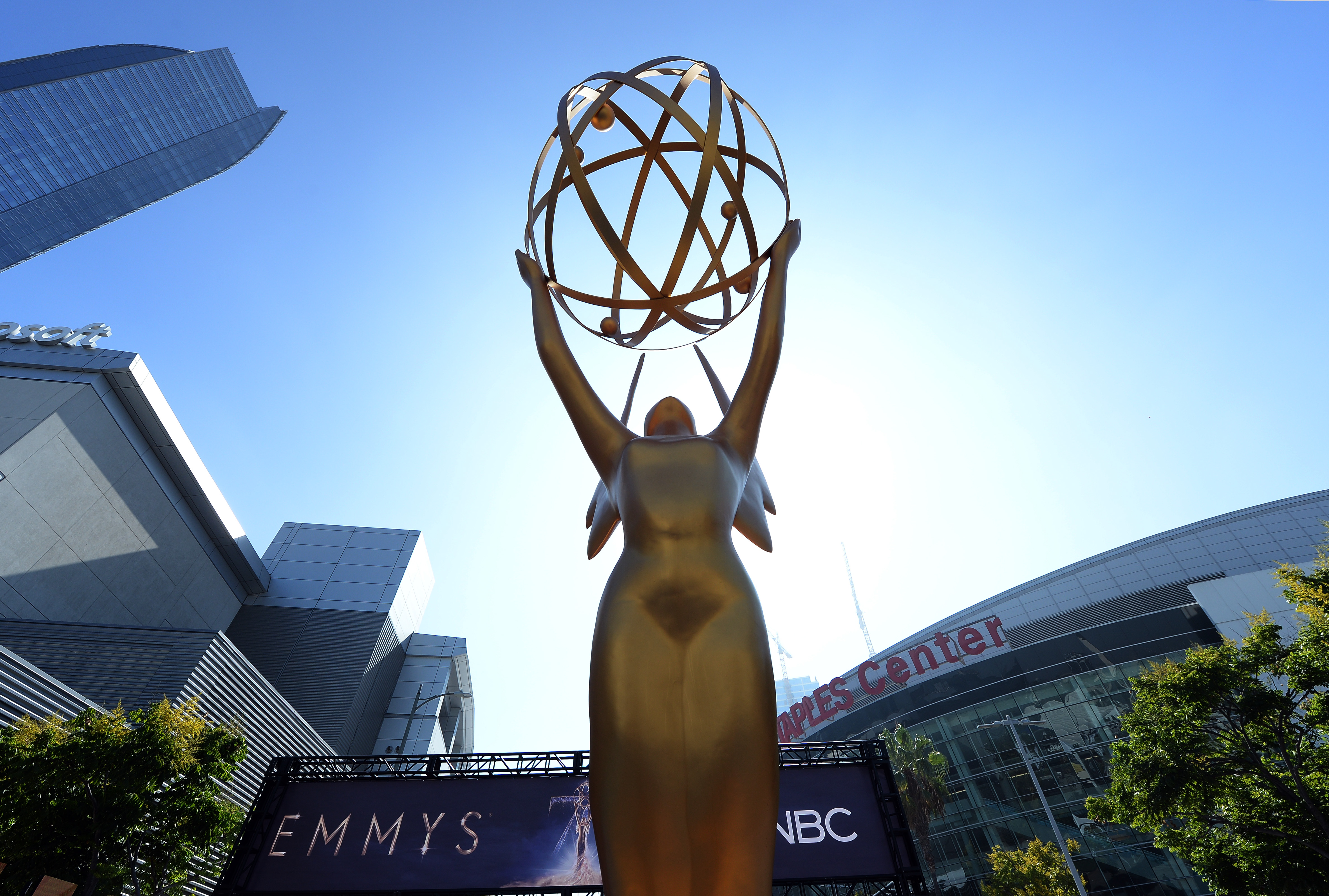 An Emmy statue is placed at the entrance of the gold carpet at the entrance of Microsoft Theater for the 70th Emmy Awards on September 13, 2018 in Los Angeles, California.