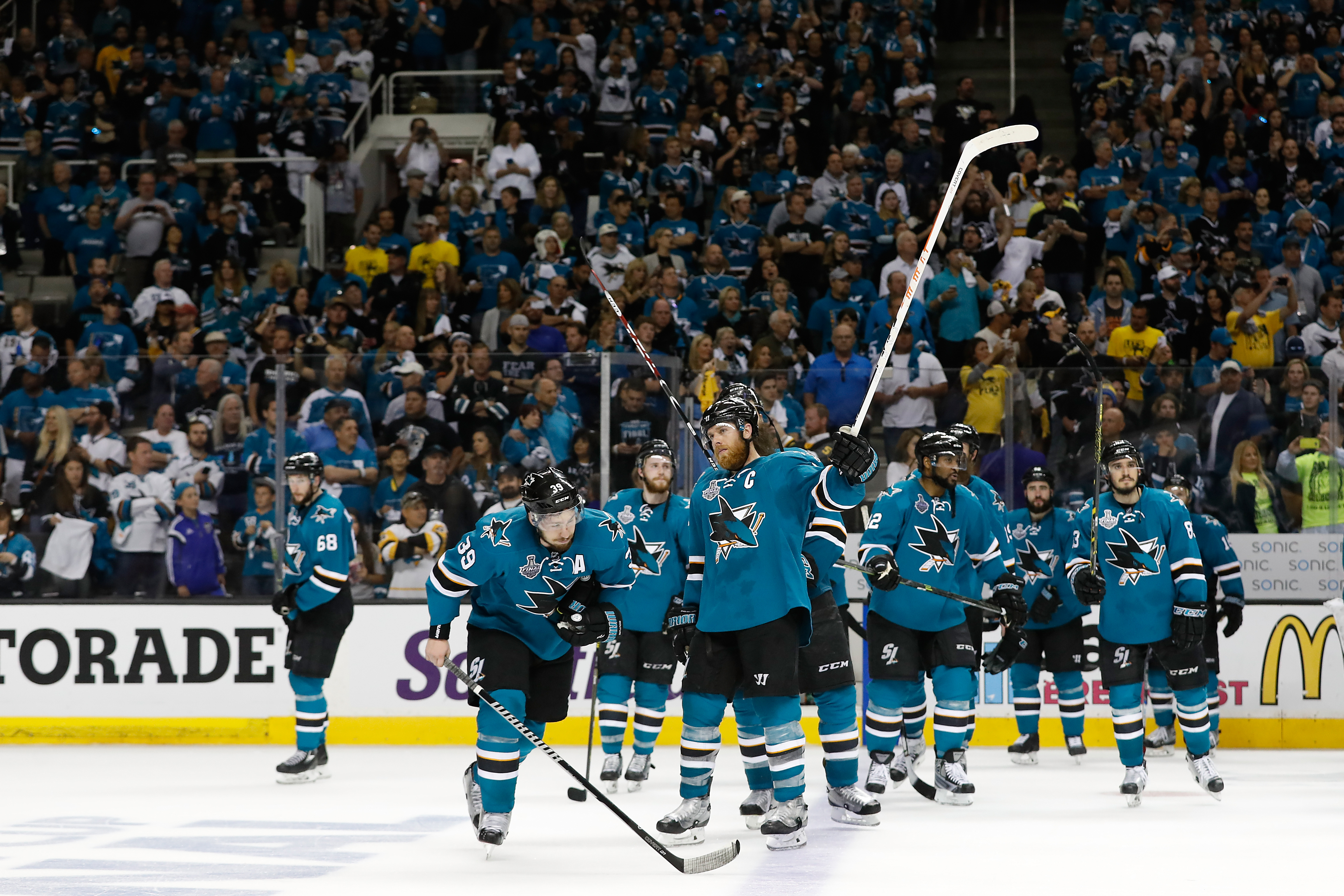 SAN JOSE, CA - JUNE 12: The San Jose Sharks salute their fans after their teams 3-1 defeat to the Pittsburgh Penguins in Game Six of the 2016 NHL Stanley Cup Final at SAP Center on June 12, 2016 in San Jose, California. The Pittsburgh Penguins defeat the