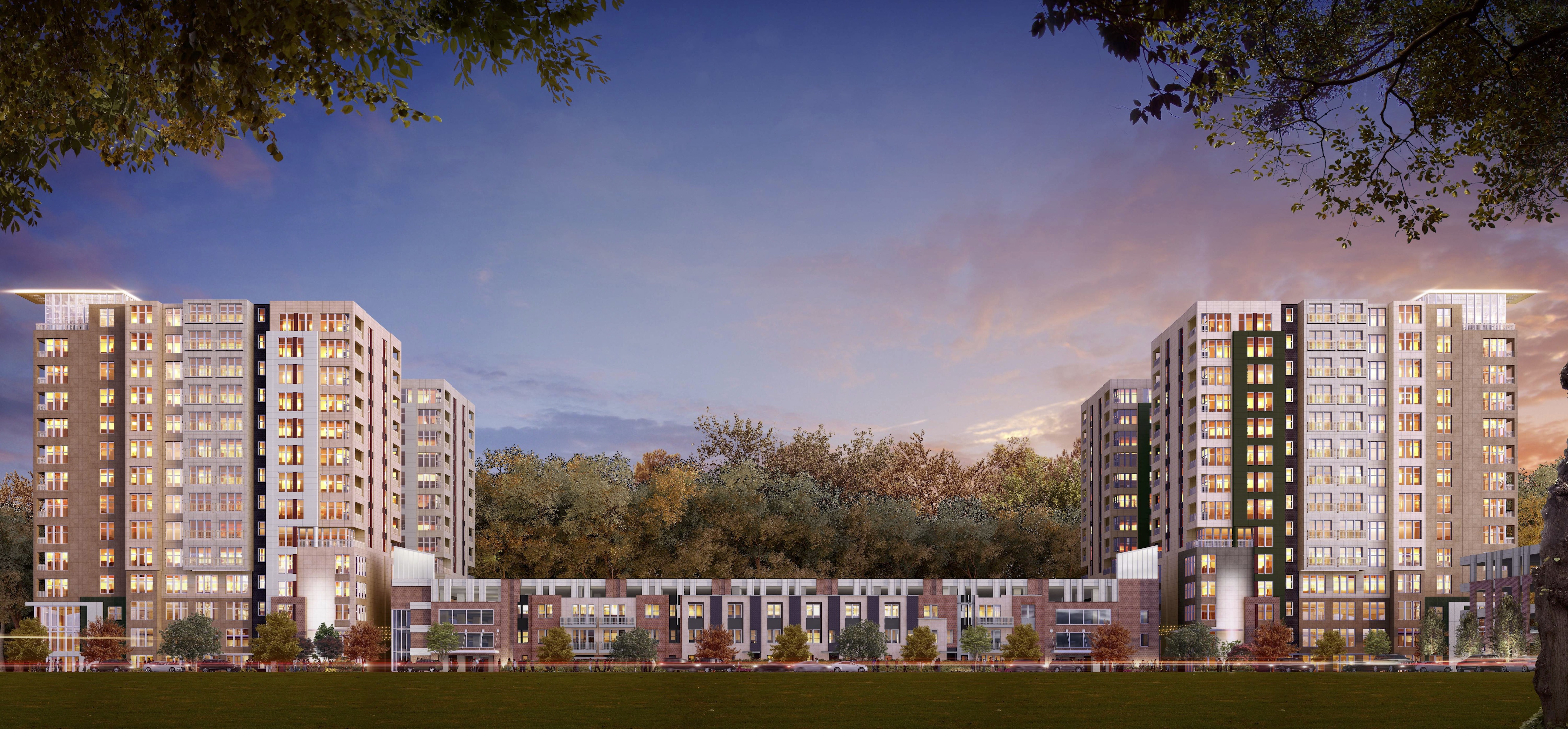 A substantial mix of condos, offices, and retail could replace three Dunwoody office buildings.