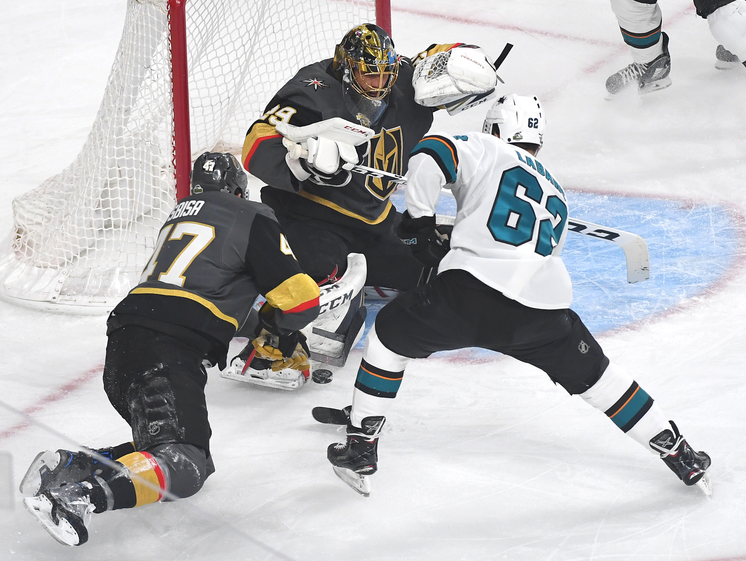 May 4, 2018; Las Vegas, NV, USA; Vegas Golden Knights goaltender Marc-Andre Fleury (29) stops a first period shot by San Jose Sharks right wing Kevin Labanc (62) in game five of the second round of the 2018 Stanley Cup Playoffs at T-Mobile Arena.