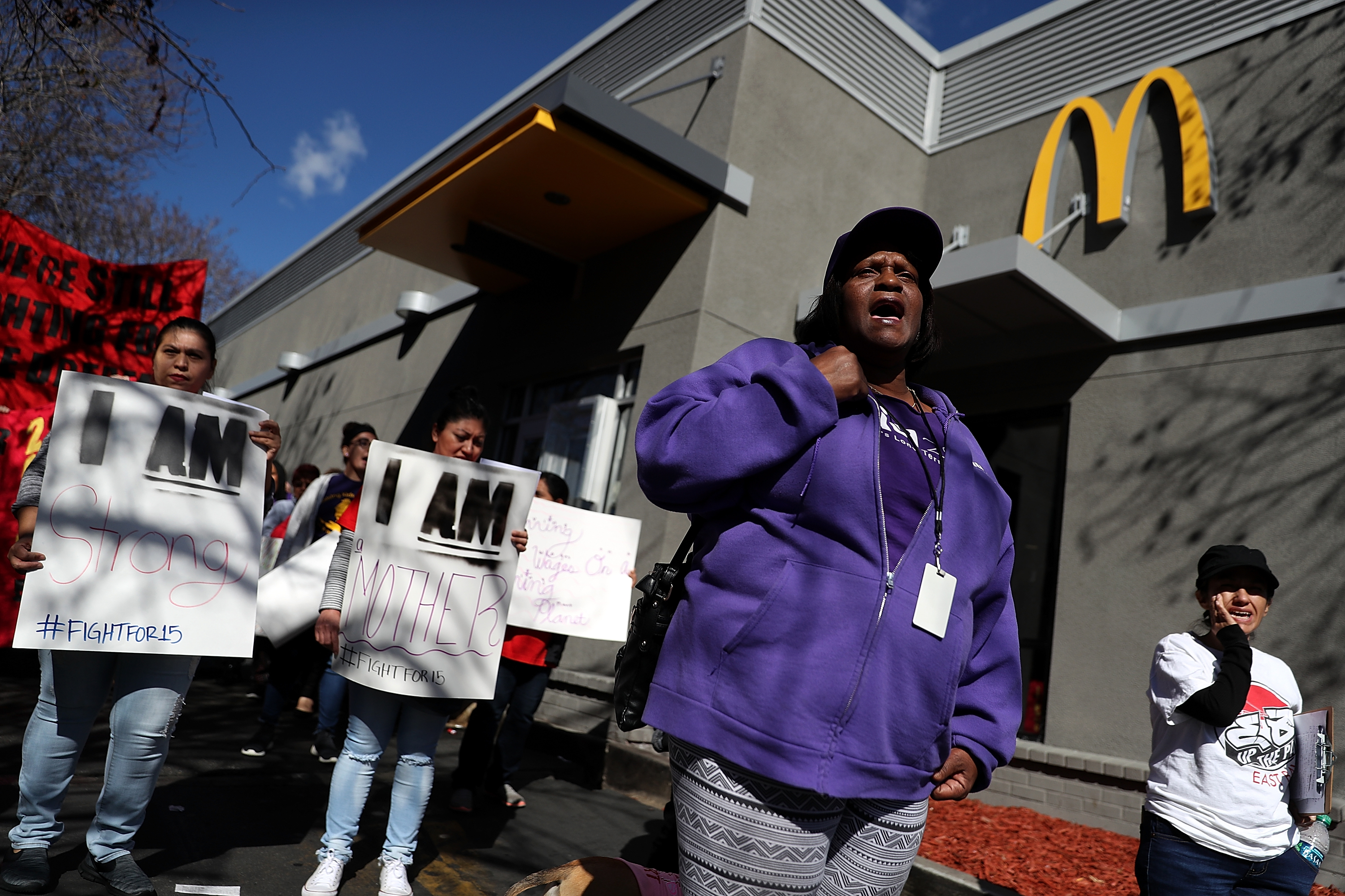 Activists Demonstrate For Raising The Minimum Wage To 15 Dollars