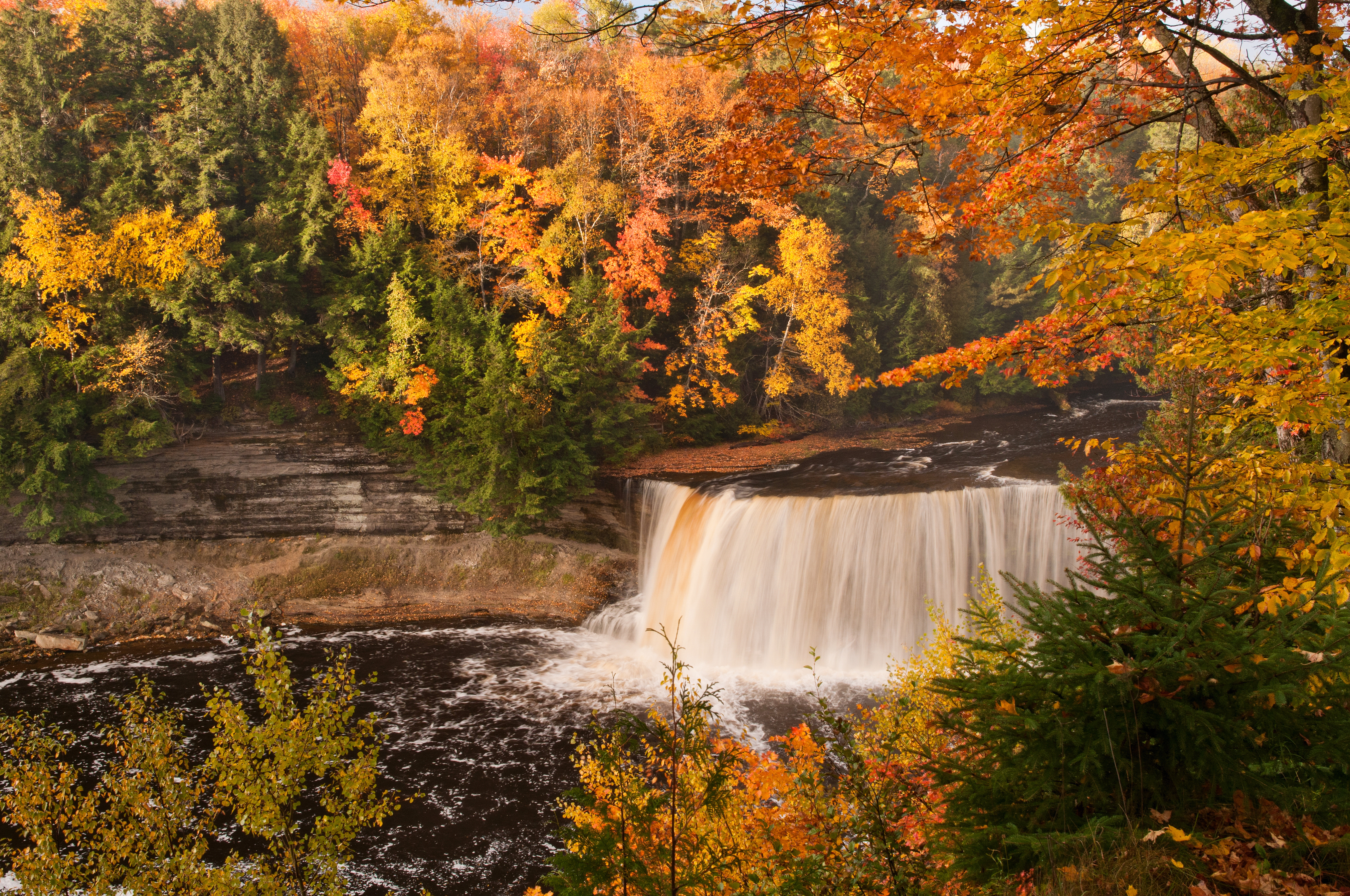 A waterfall can be seen through a narrow window between red, orange, yellow, and green leaves.