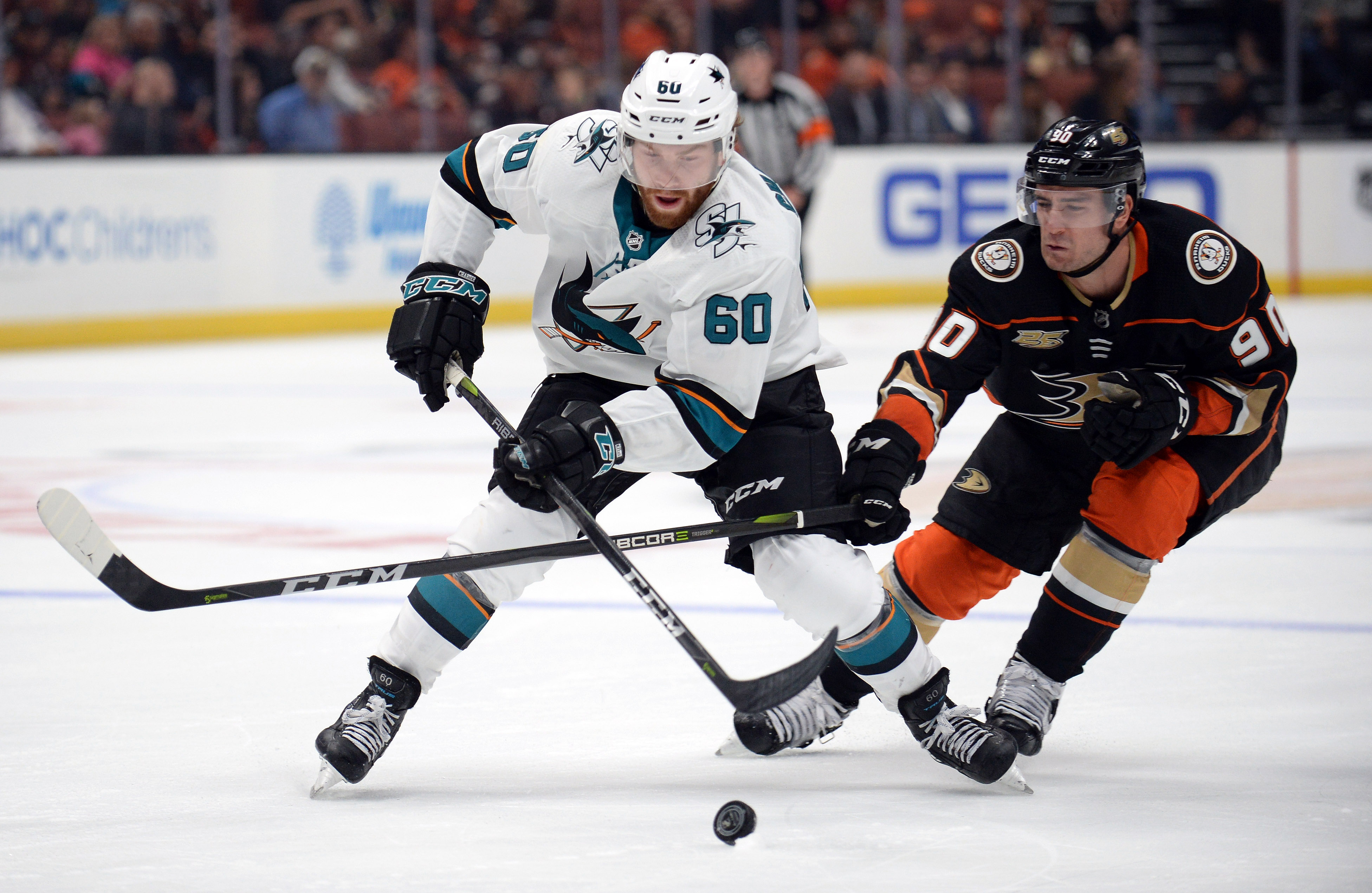 September 20, 2018; Anaheim, CA, USA; San Jose Sharks center Rourke Chartier (60) moves the puck ahead of Anaheim Ducks left wing Giovanni Fiore (90) during the second period at Honda Center.