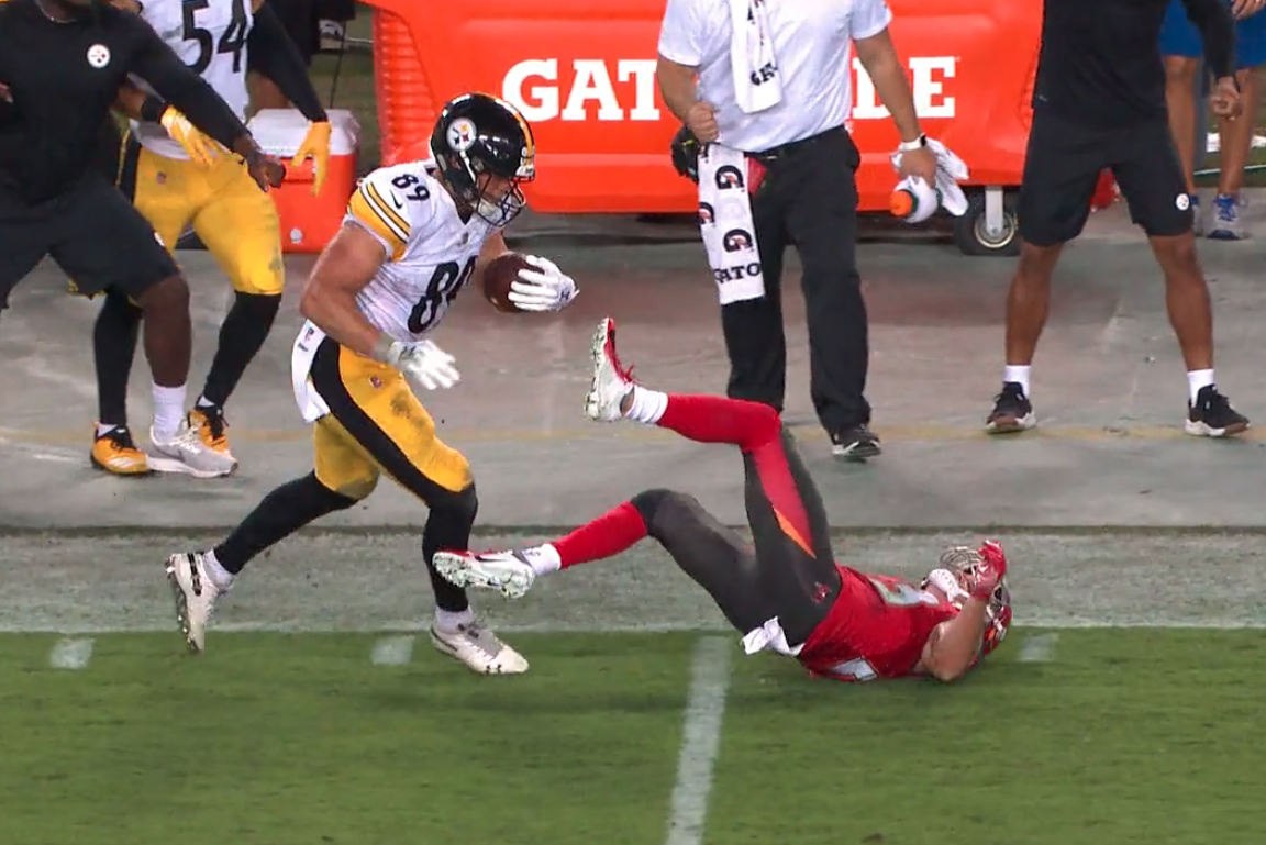 Vance McDonald's beautiful stiff arm might have ended Chris Conte's season