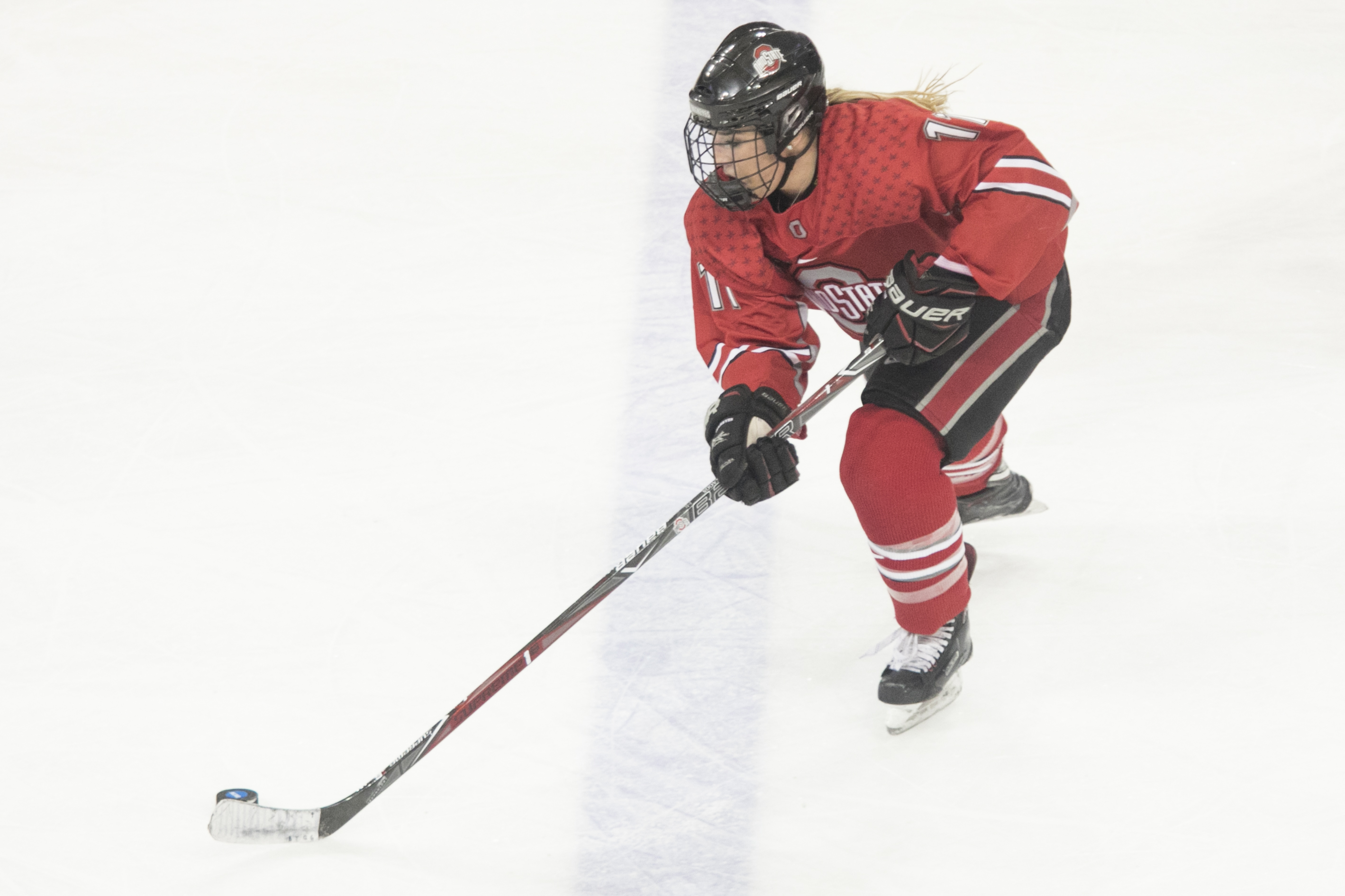 Ohio State University Forward Tatum Skaggs during a NCAA regional game in Chestnut Hill, MA on March 10, 2018. (Photo by Michelle Jay)