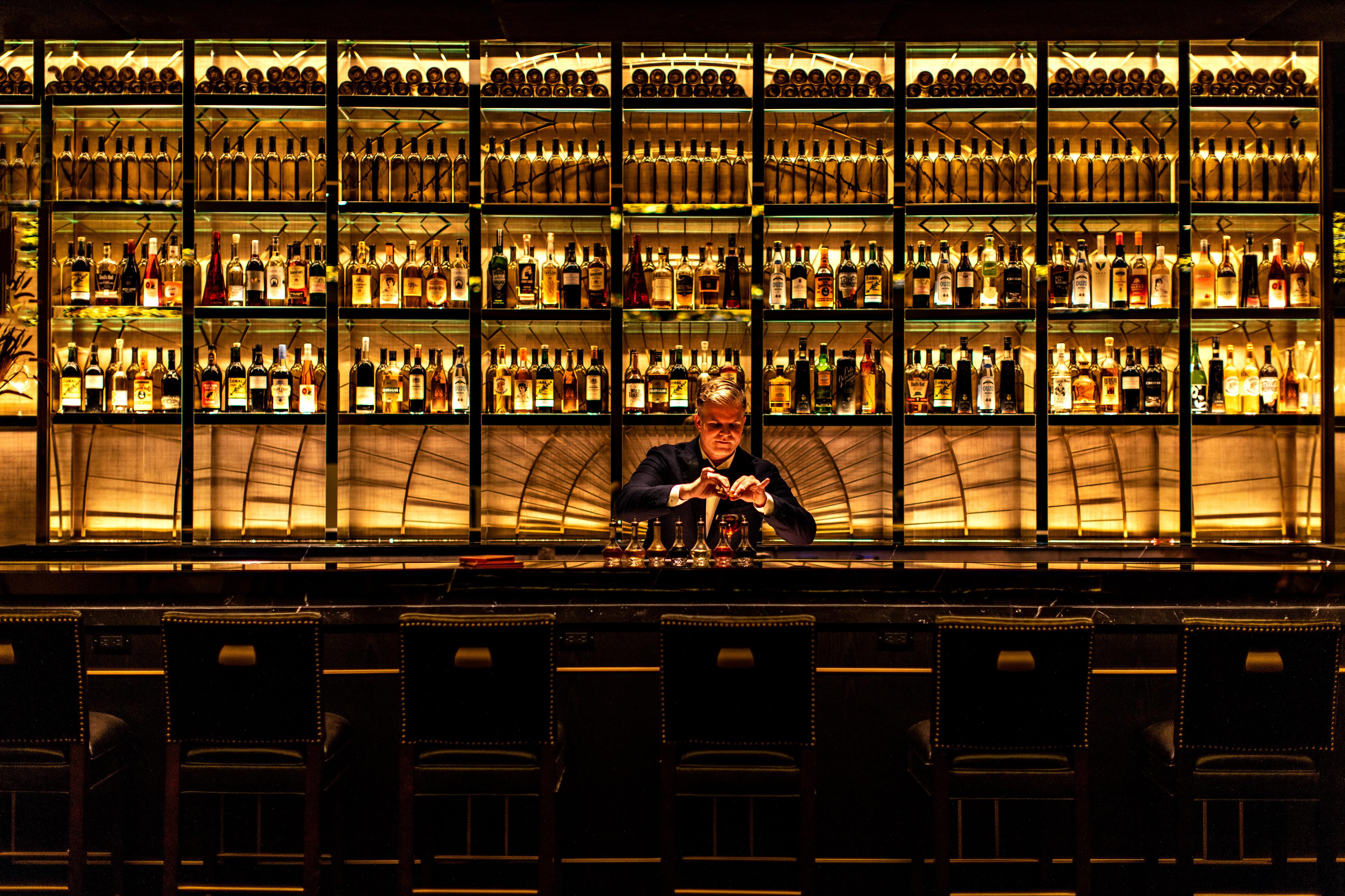 Leo Robitschek behind the bar at NoMad Bar