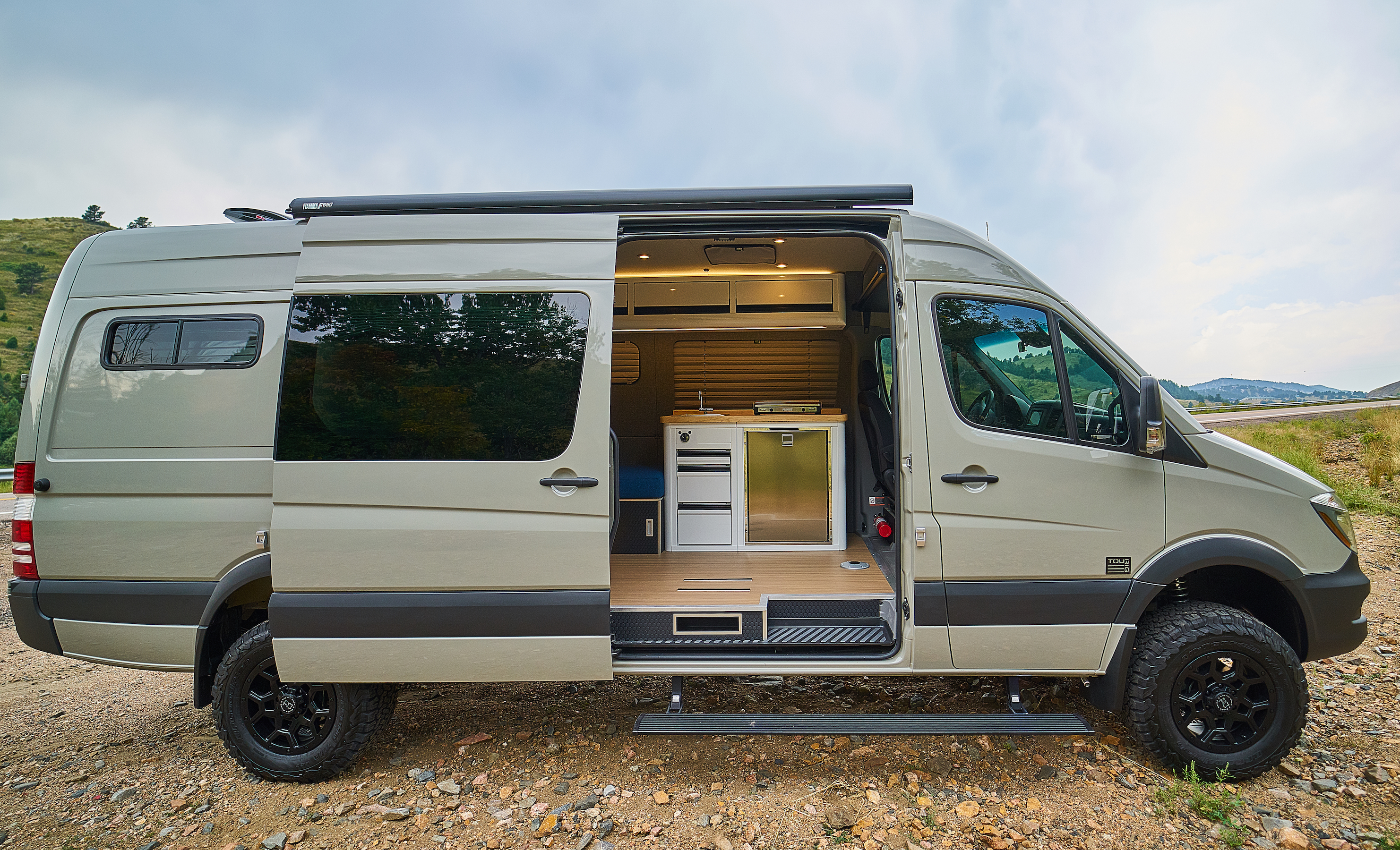 Sleek camper van sleeps two with space for bikes