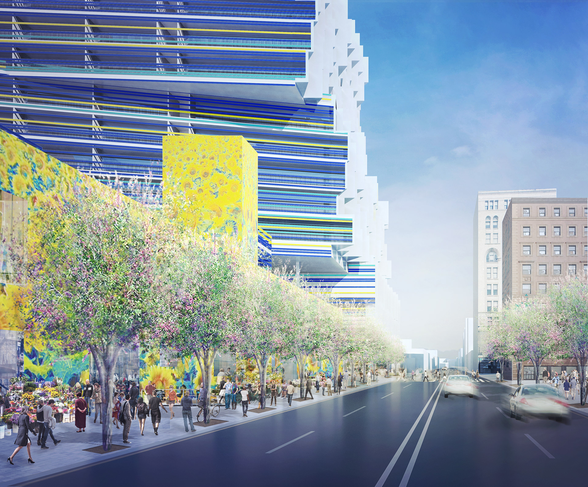 A rendering of a tree-lined sidewalk and a tall, colorful building.
